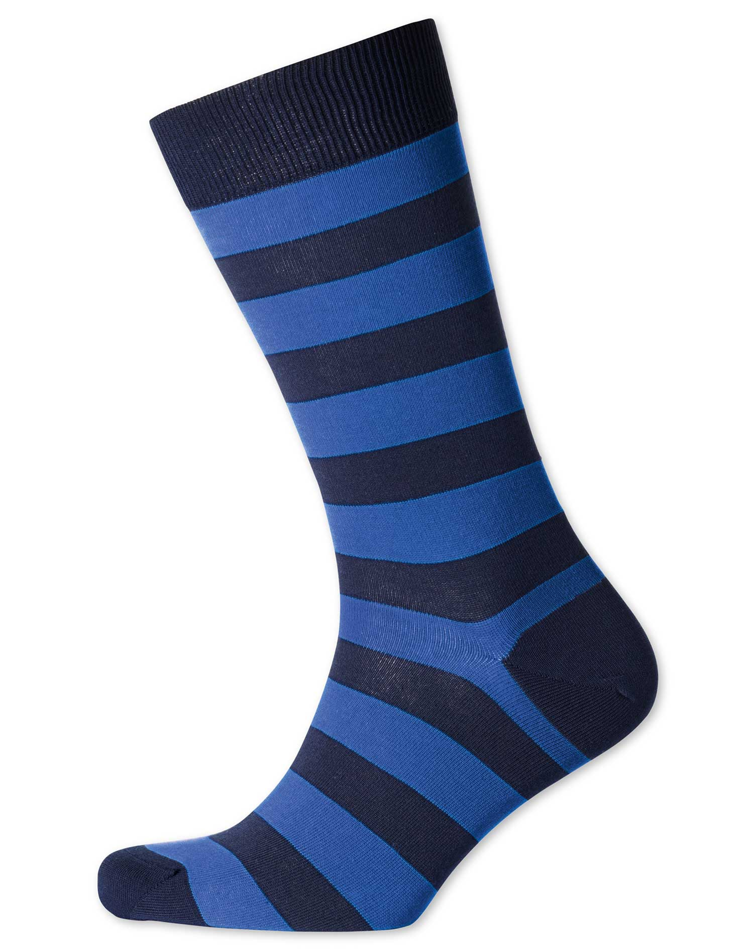 Navy and Royal Wide Stripe Socks Size Large by Charles Tyrwhitt