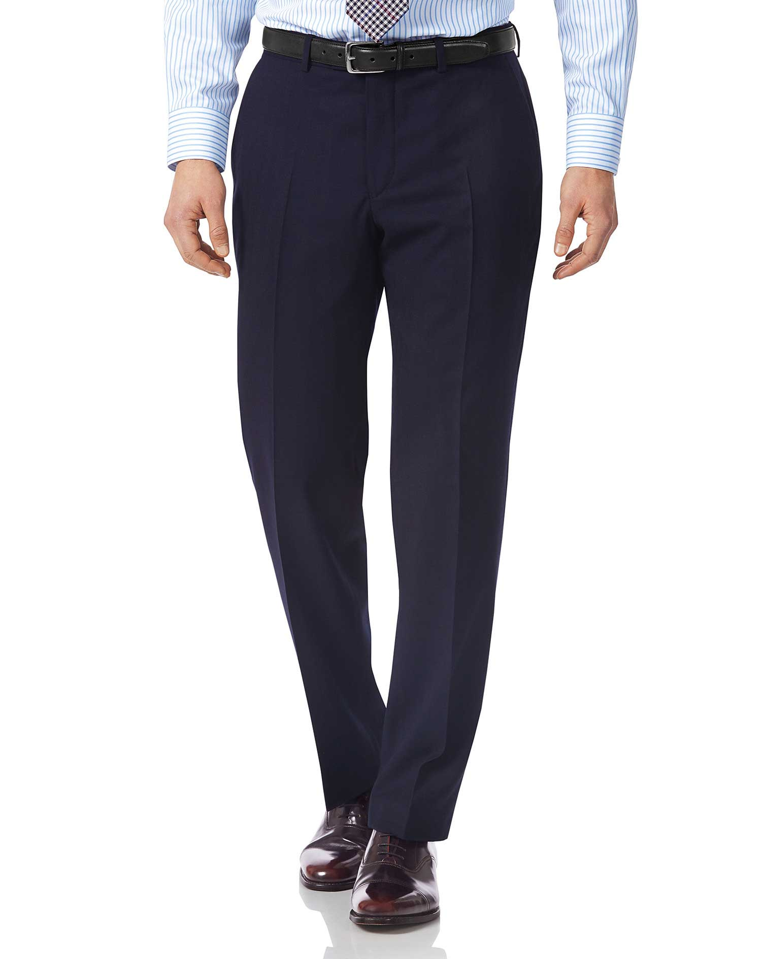 Navy classic fit British luxury suit trousers
