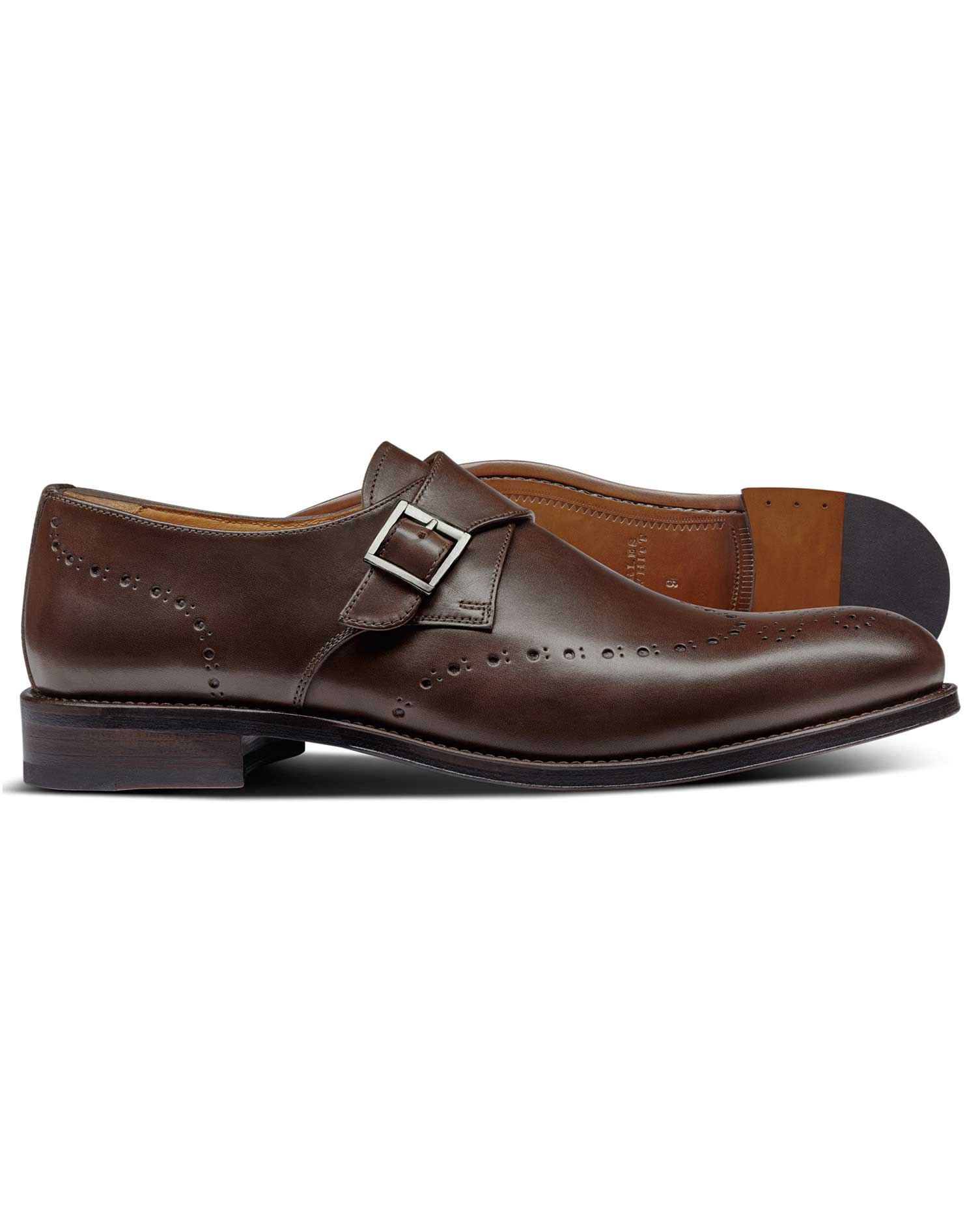 Chocolate Brogue Monk Shoes Size 7 R by Charles Tyrwhitt