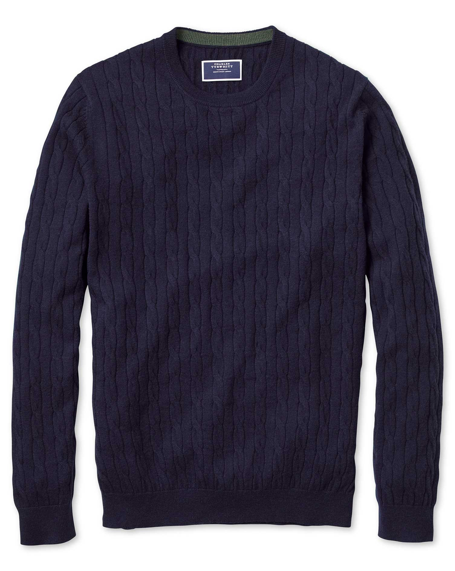 Navy Crew Neck Lambswool Cable Knit Jumper Size XXXL by Charles Tyrwhitt