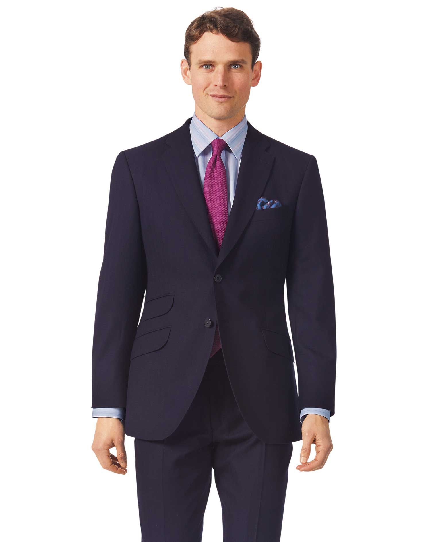 Navy slim fit British luxury suit jacket
