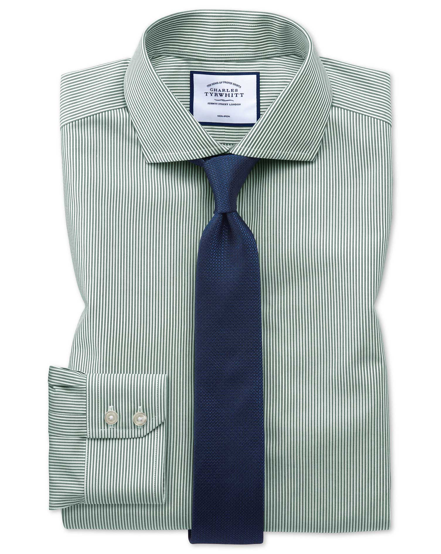 Extra Slim Fit Non-Iron Cutaway Collar Olive Bengal Stripe Cotton Formal Shirt Single Cuff Size 16.5