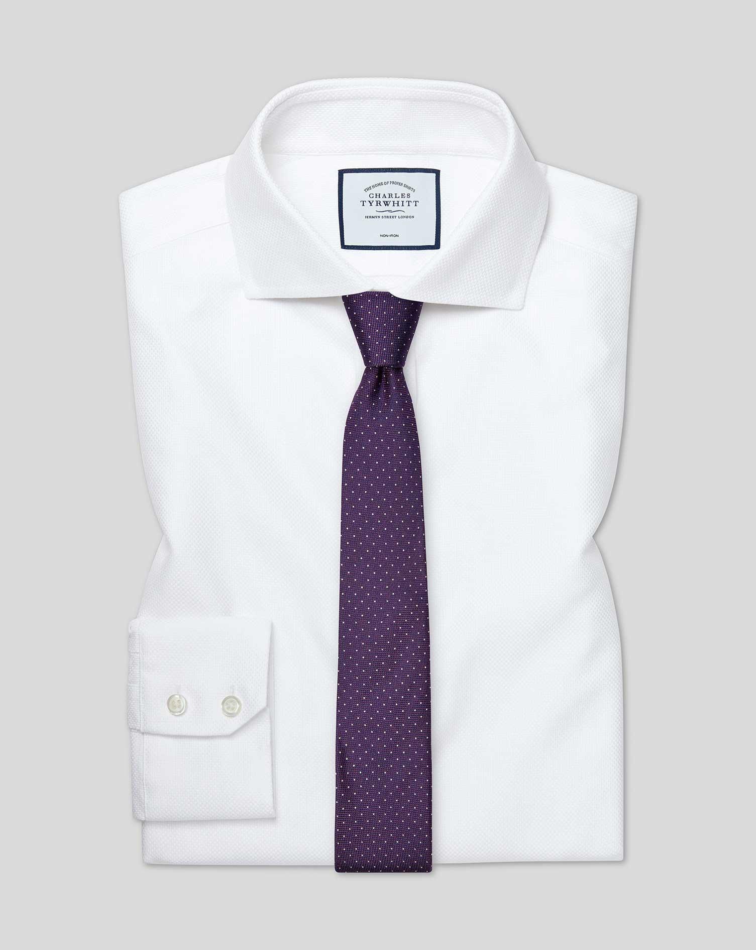Cotton Extra Slim Fit Cutaway Non-Iron Buckingham Weave White Shirt
