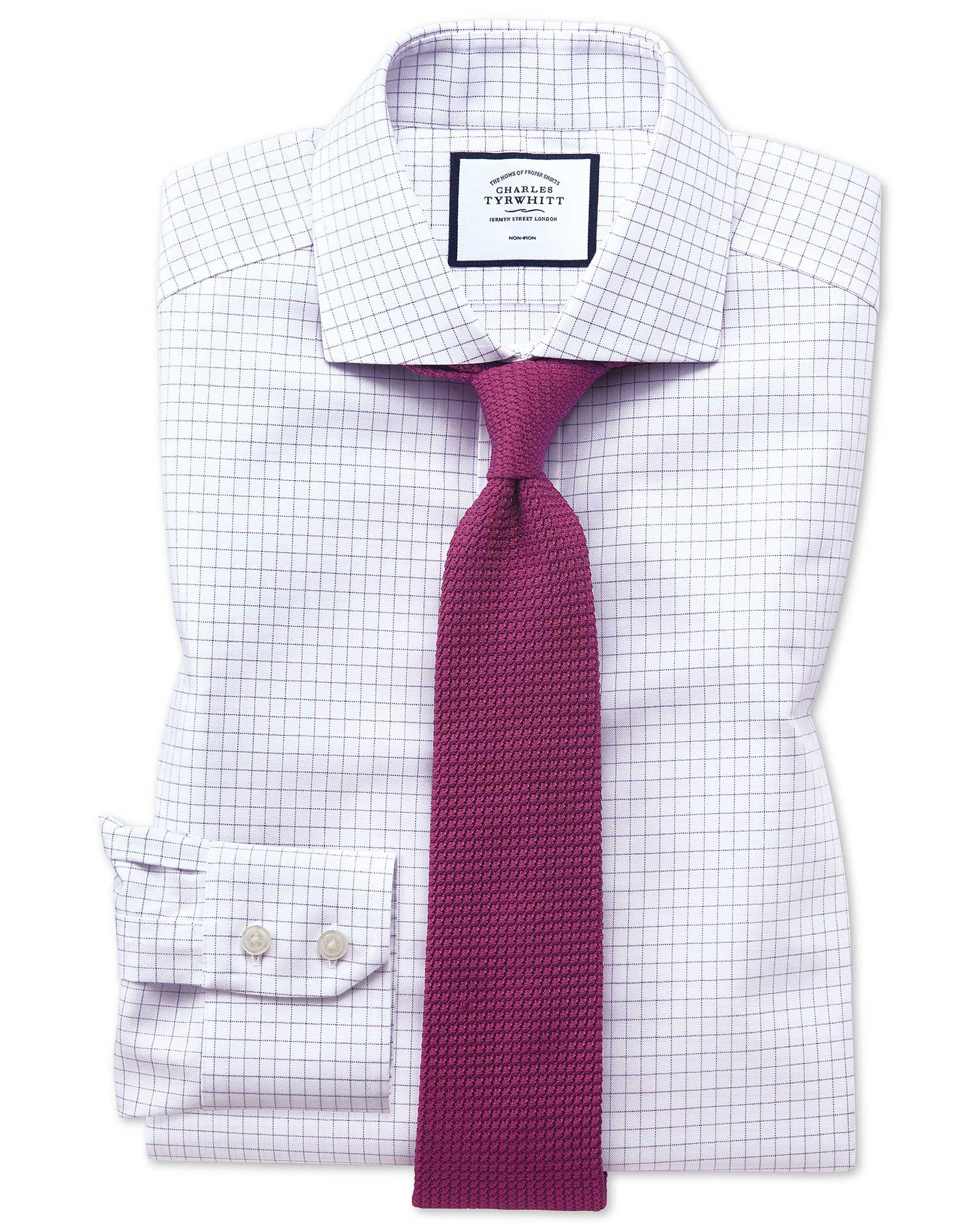 Extra Slim Fit Non-Iron Cutaway Collar Lilac Fine Check Cotton Formal Shirt Single Cuff Size 16.5/35