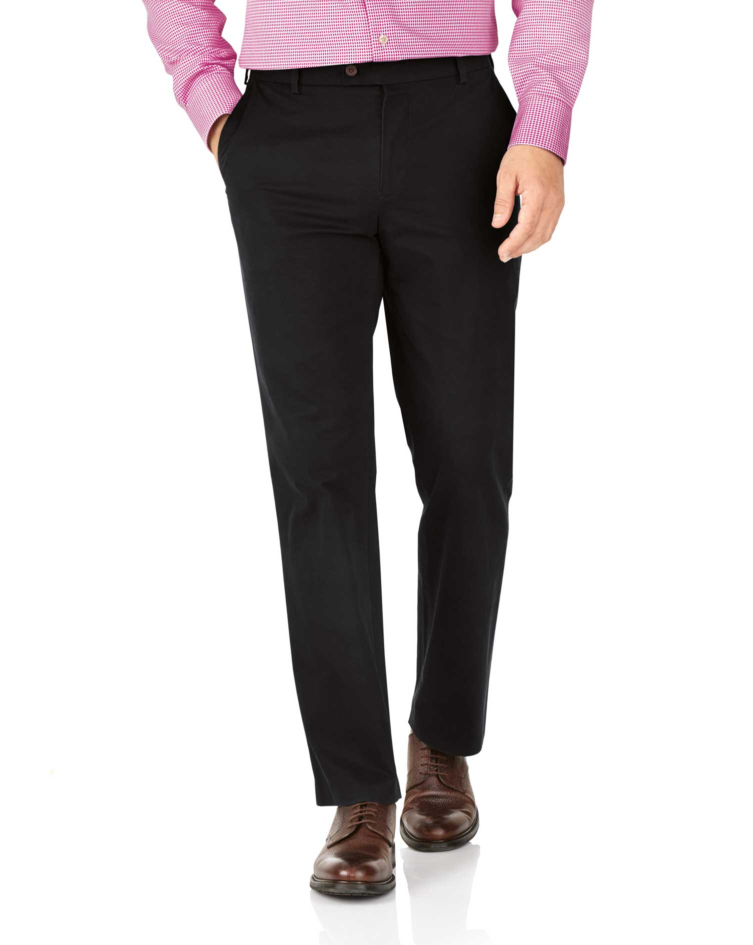 Black Classic Fit Stretch Chino Size W36 L32 by Charles Tyrwhitt
