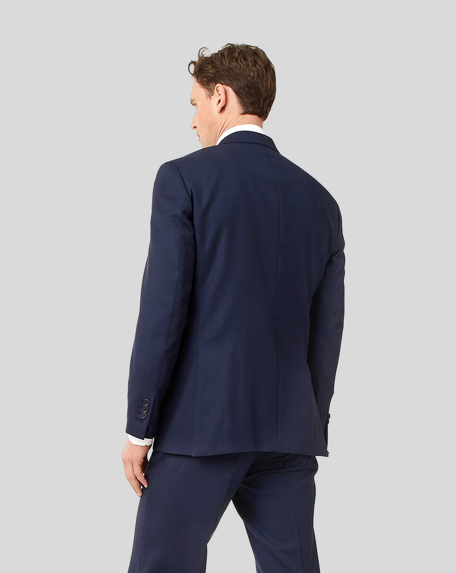 Ink blue classic fit birdseye travel suit jacket