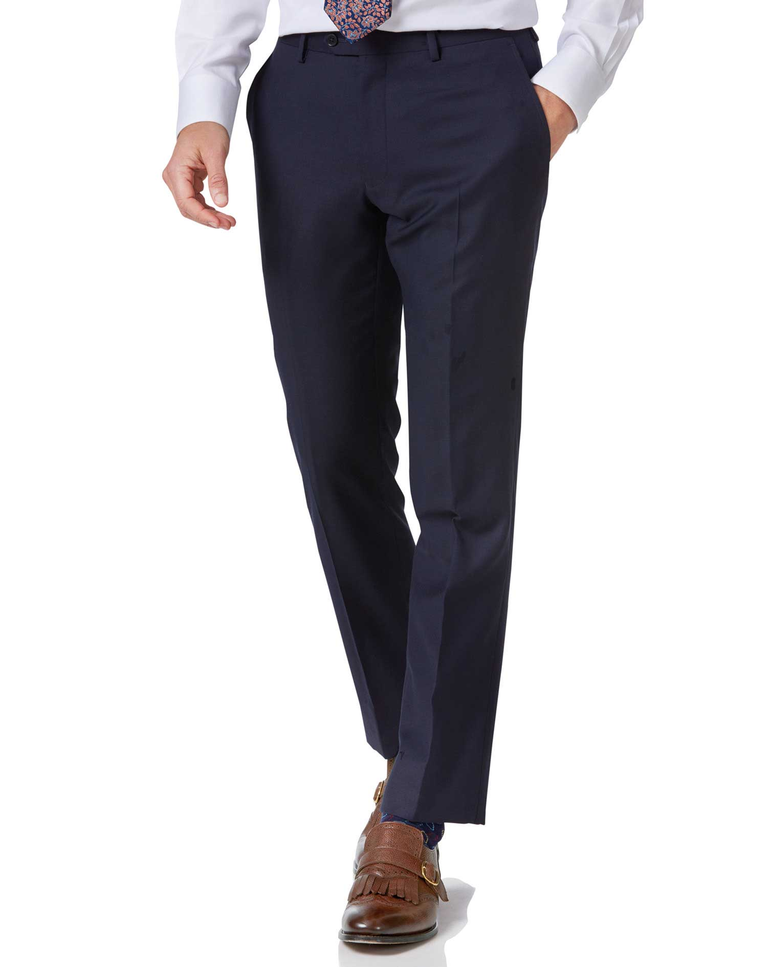 Navy Slim Fit Twill Business Suit Trousers Size W34 L38 by Charles Tyrwhitt