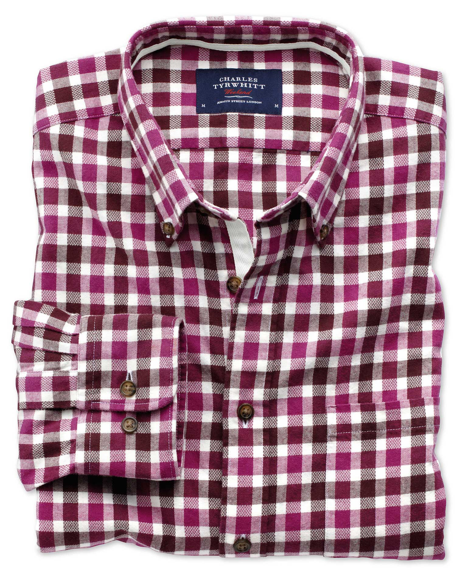 Slim Fit Berry Check Brushed Dobby Cotton Shirt Single Cuff Size XS by Charles Tyrwhitt