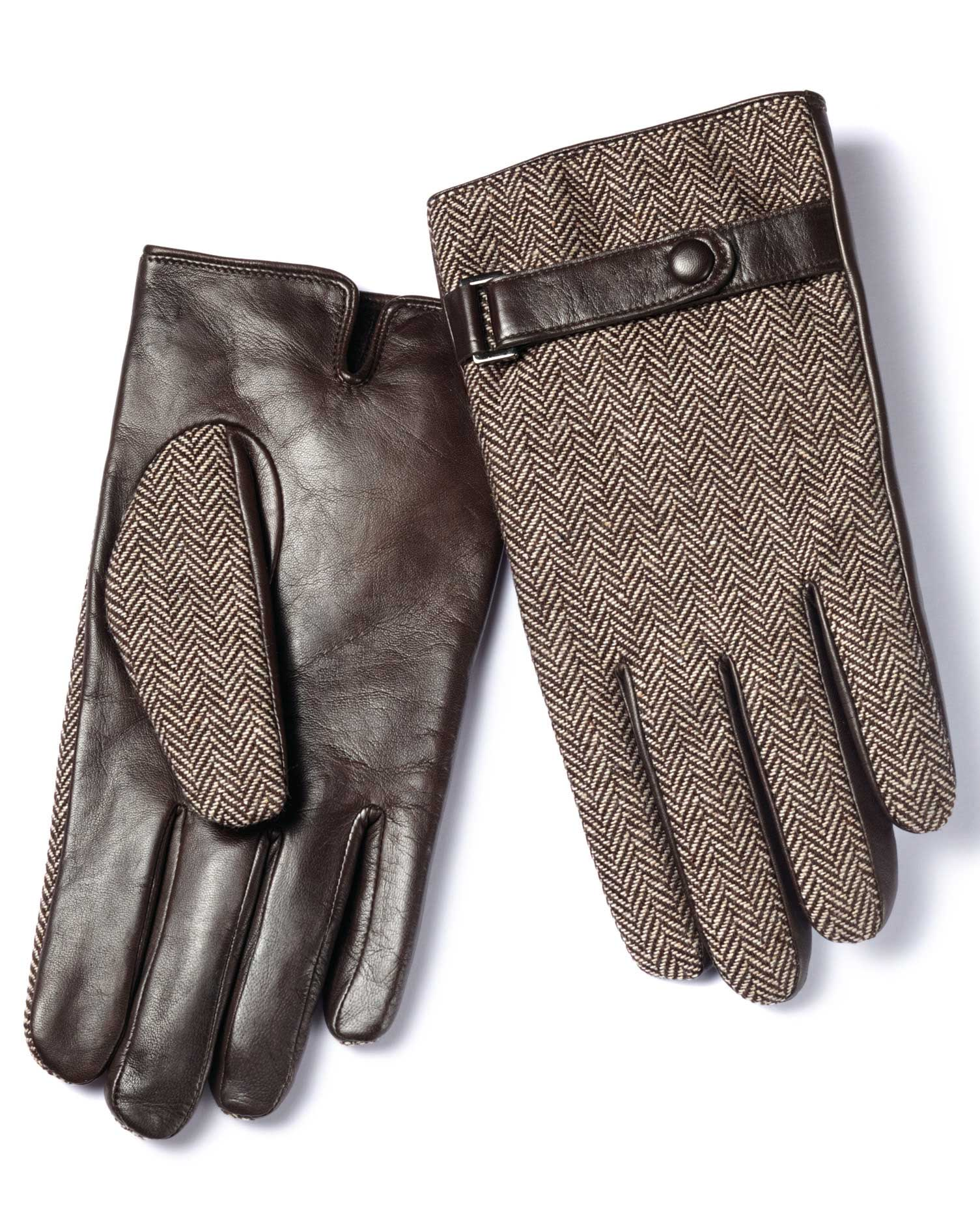Brown Tweed Gloves Size Small by Charles Tyrwhitt