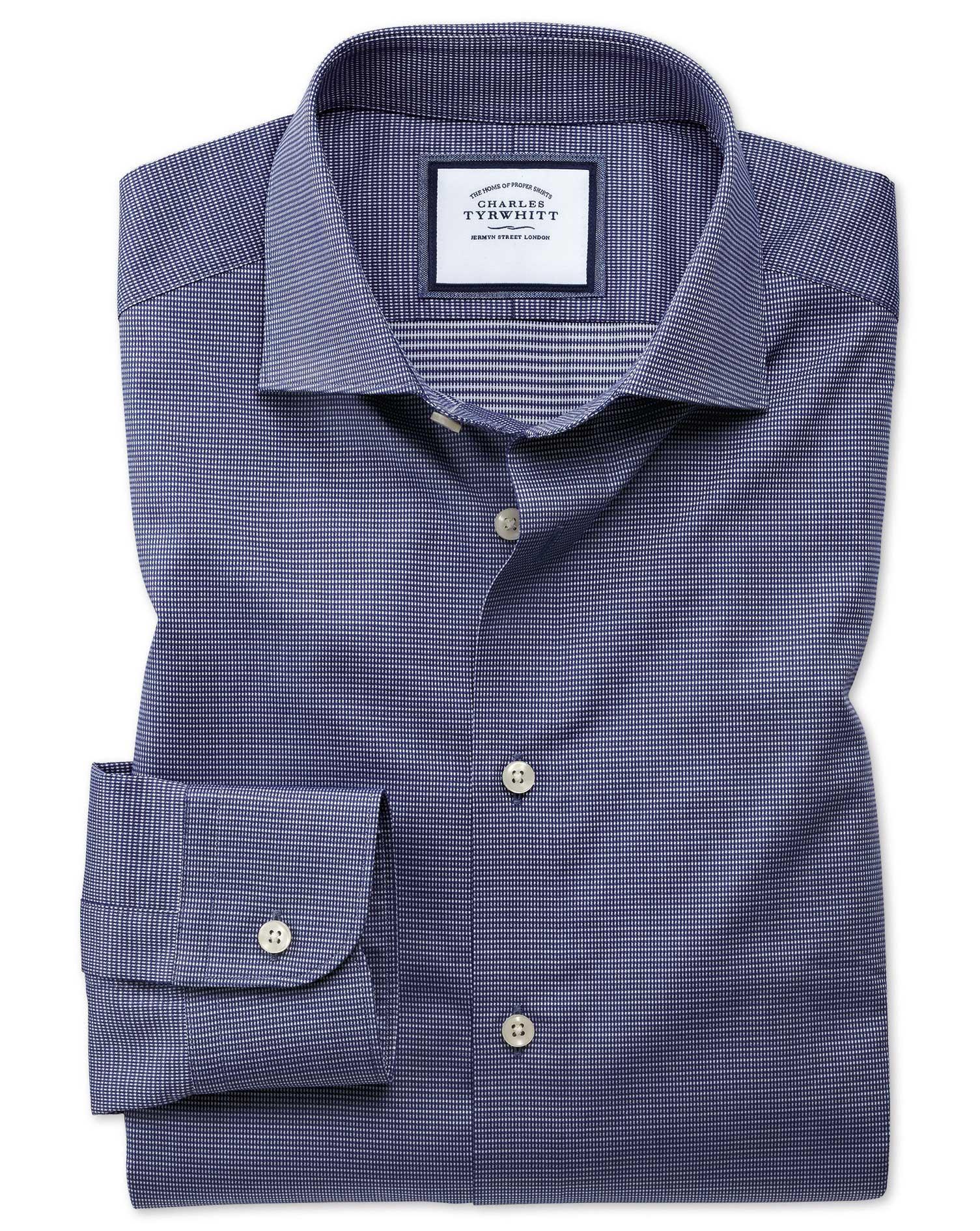 Extra slim semi spread collar fit business casual navy for Semi spread collar shirt