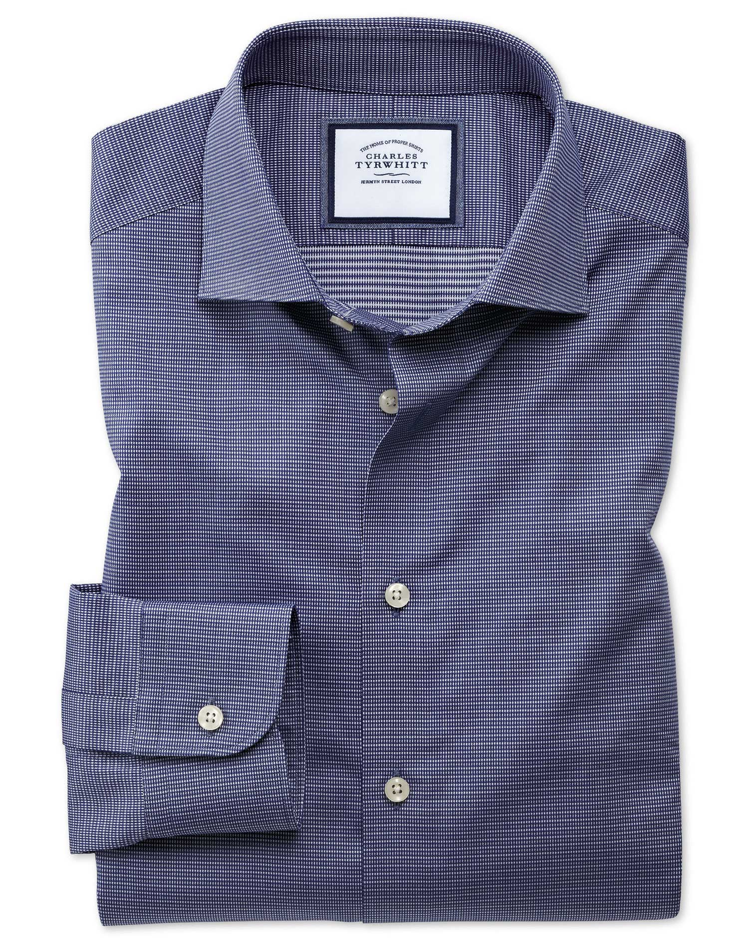 Extra Slim Semi-Cutaway Fit Business Casual Navy Multi Puppytooth Cotton Formal Shirt Single Cuff Si
