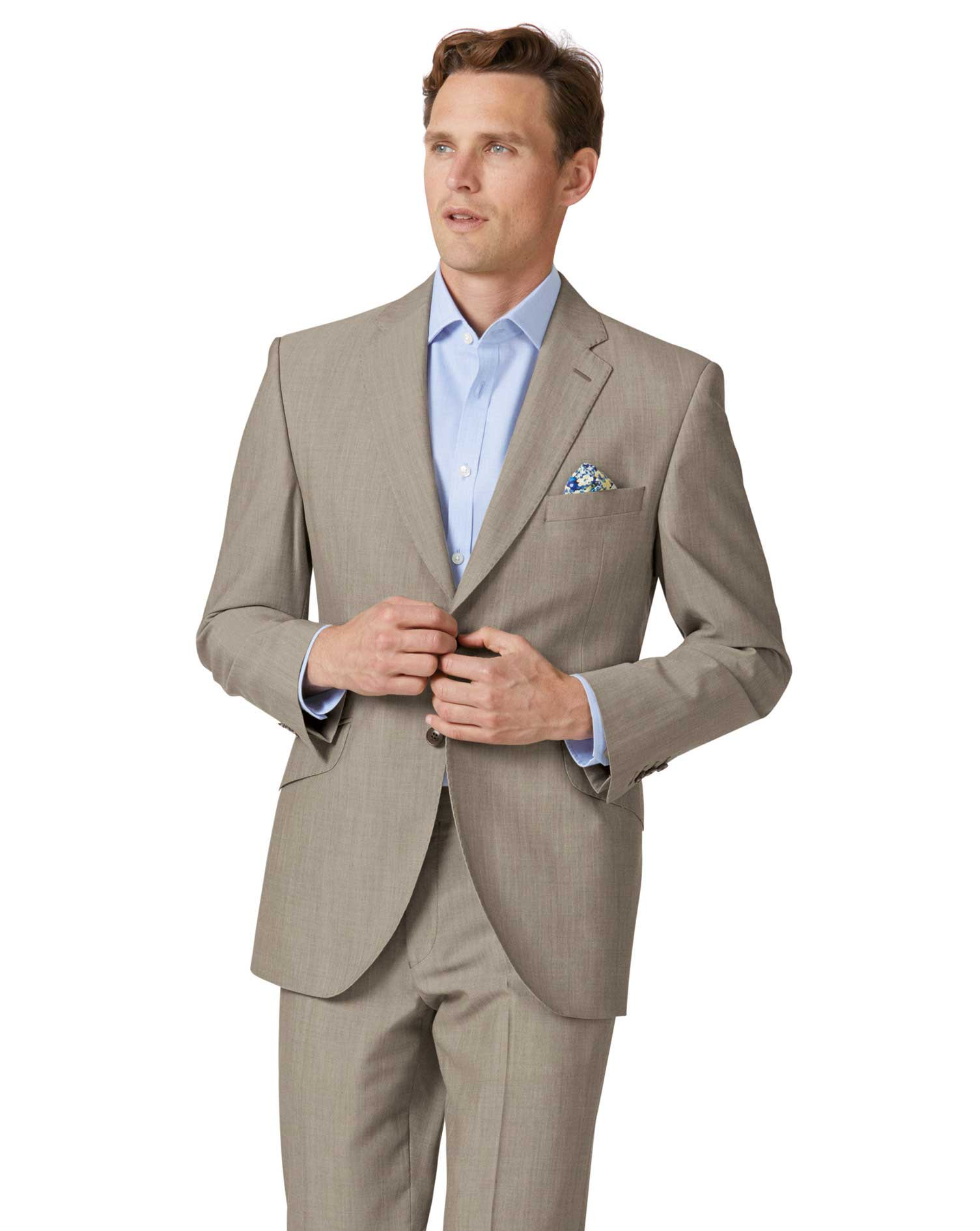 Natural Panama Classic Fit British Suit Wool Jacket Size 40 Short by Charles Tyrwhitt