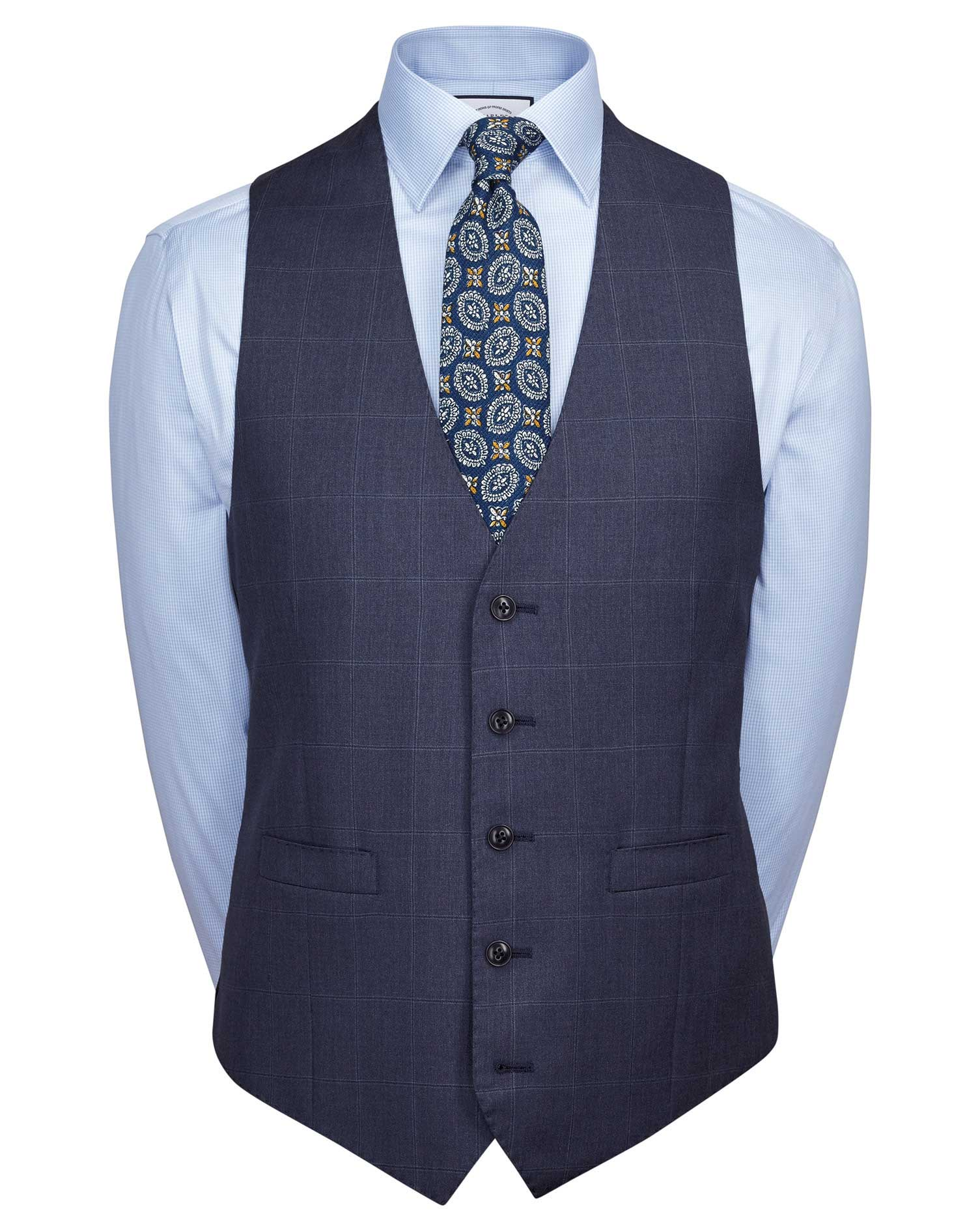 Image of Charles Tyrwhitt Airforce Blue Adjustable Fit Italian Suit Wool Waistcoat Size w36 by Charles Tyrwhitt