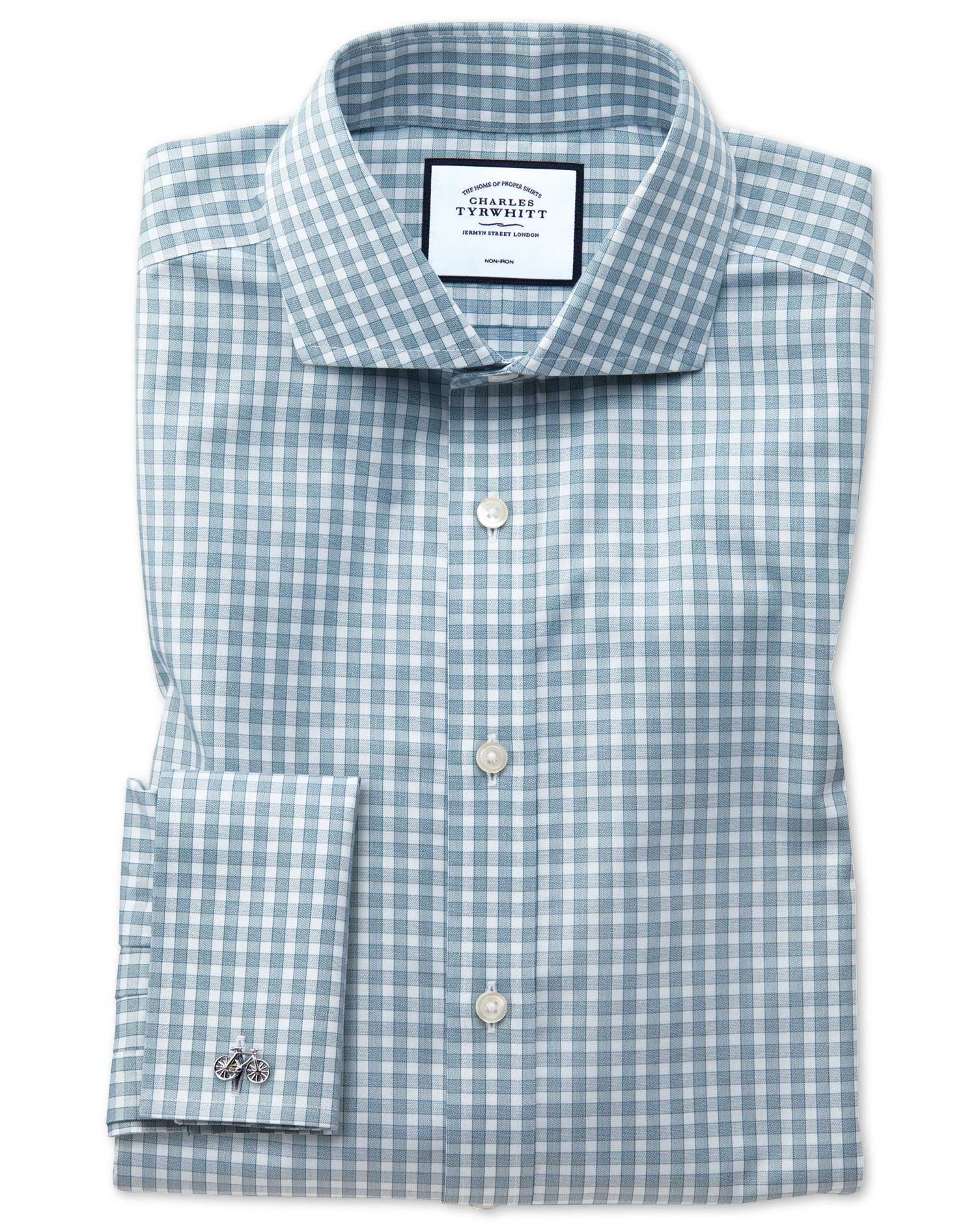 Slim Fit Non-Iron Twill Gingham Teal Cotton Formal Shirt Single Cuff Size 17.5/34 by Charles Tyrwhit