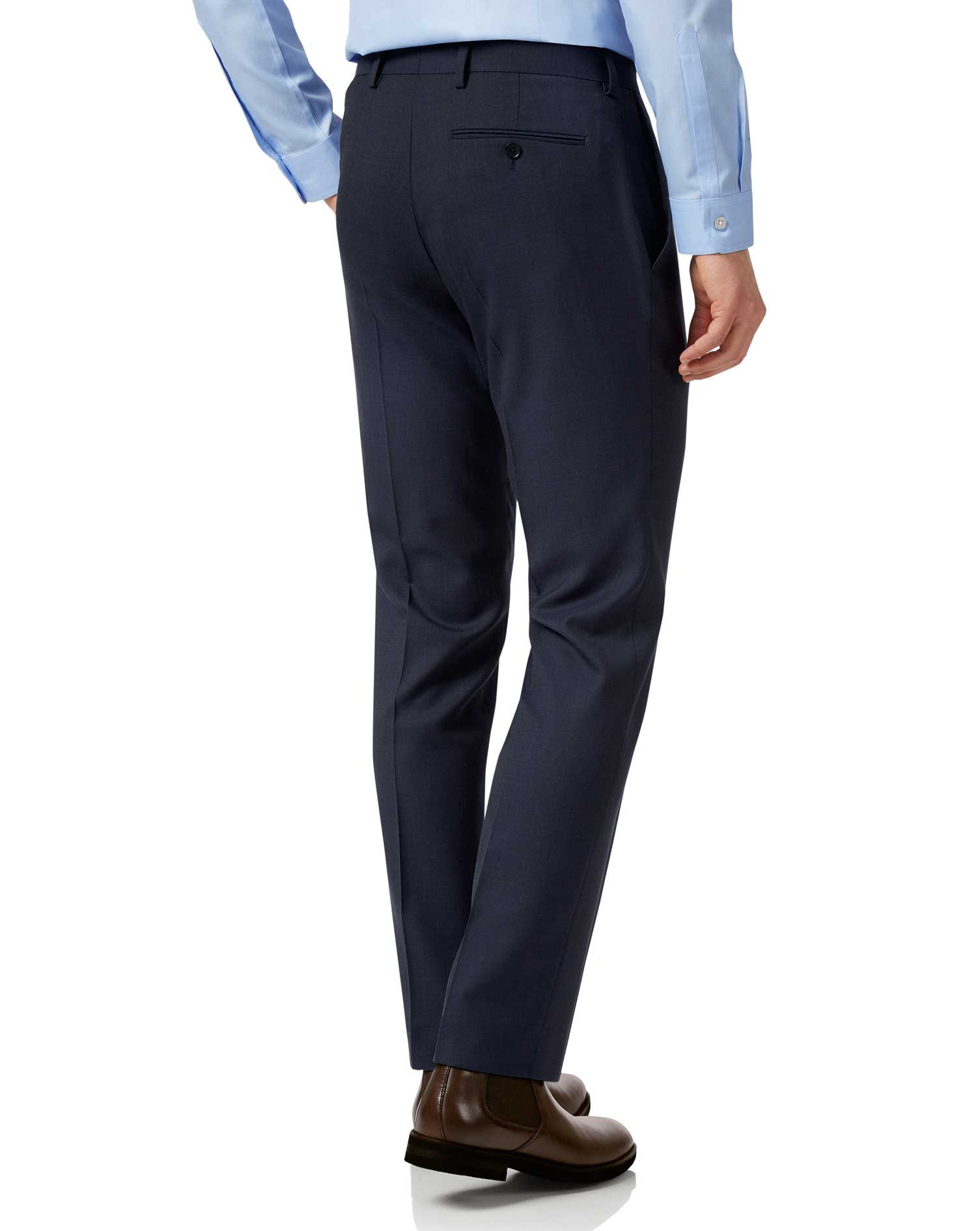 Navy slim fit sharkskin travel suit pants