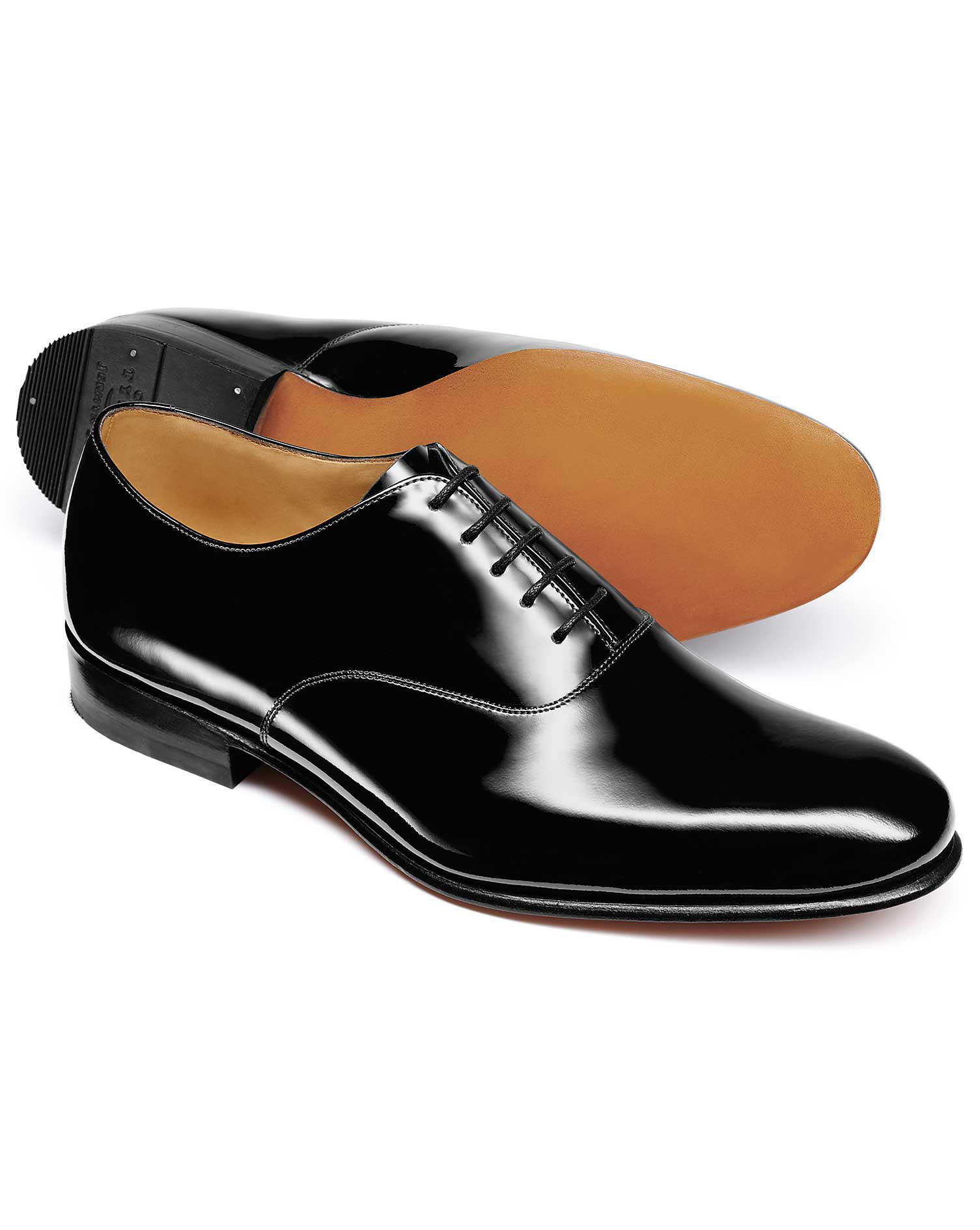 Black Patent Oxford Shoe Size 7 R by Charles Tyrwhitt