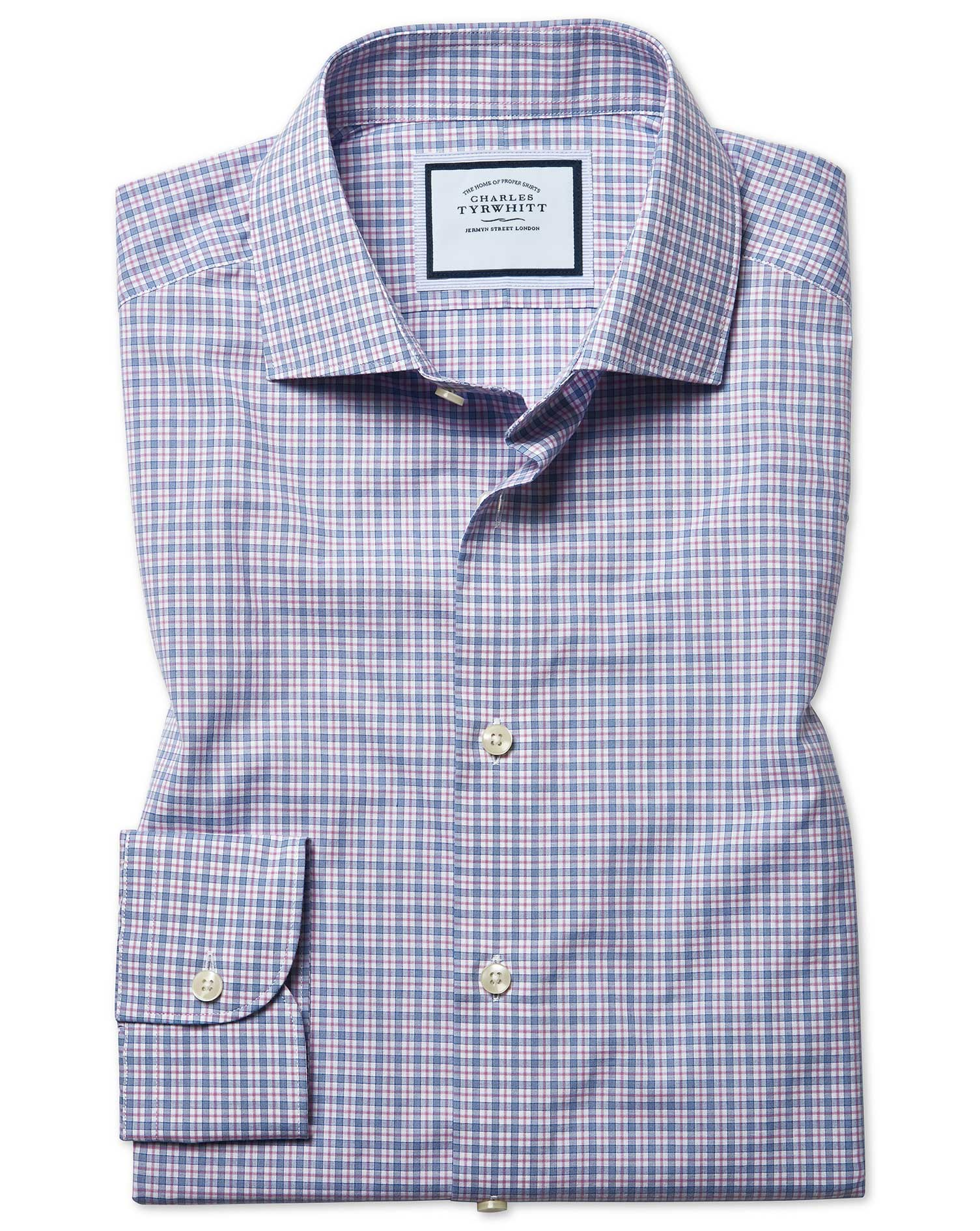 Slim Fit Peached Egyptian Cotton Pink And Blue Check Shirt