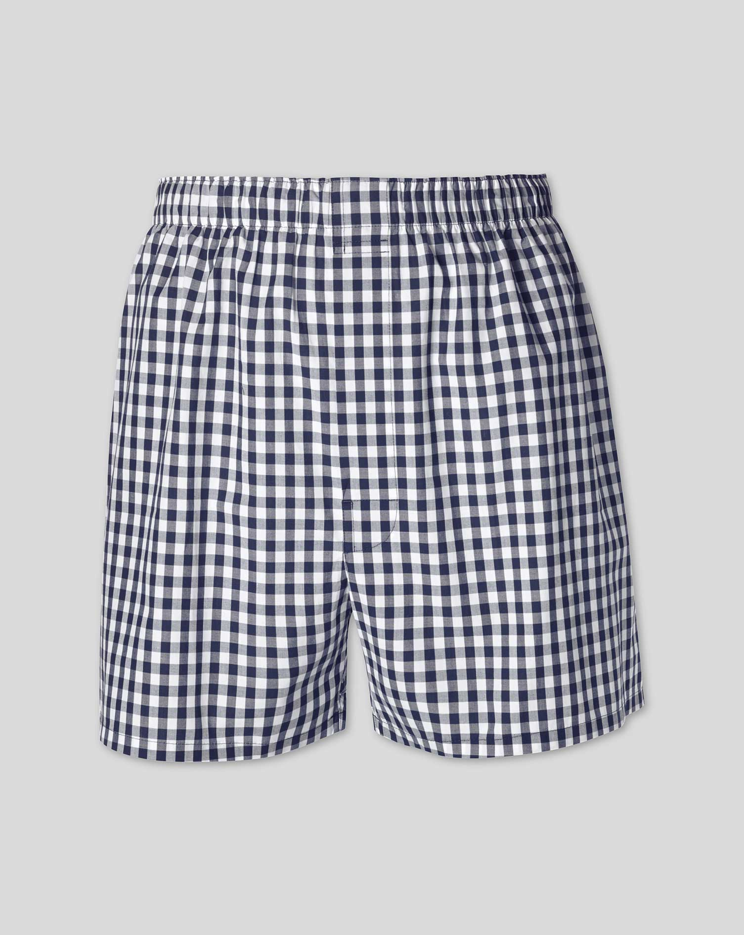 Navy Gingham Woven Boxers Size Large by Charles Tyrwhitt