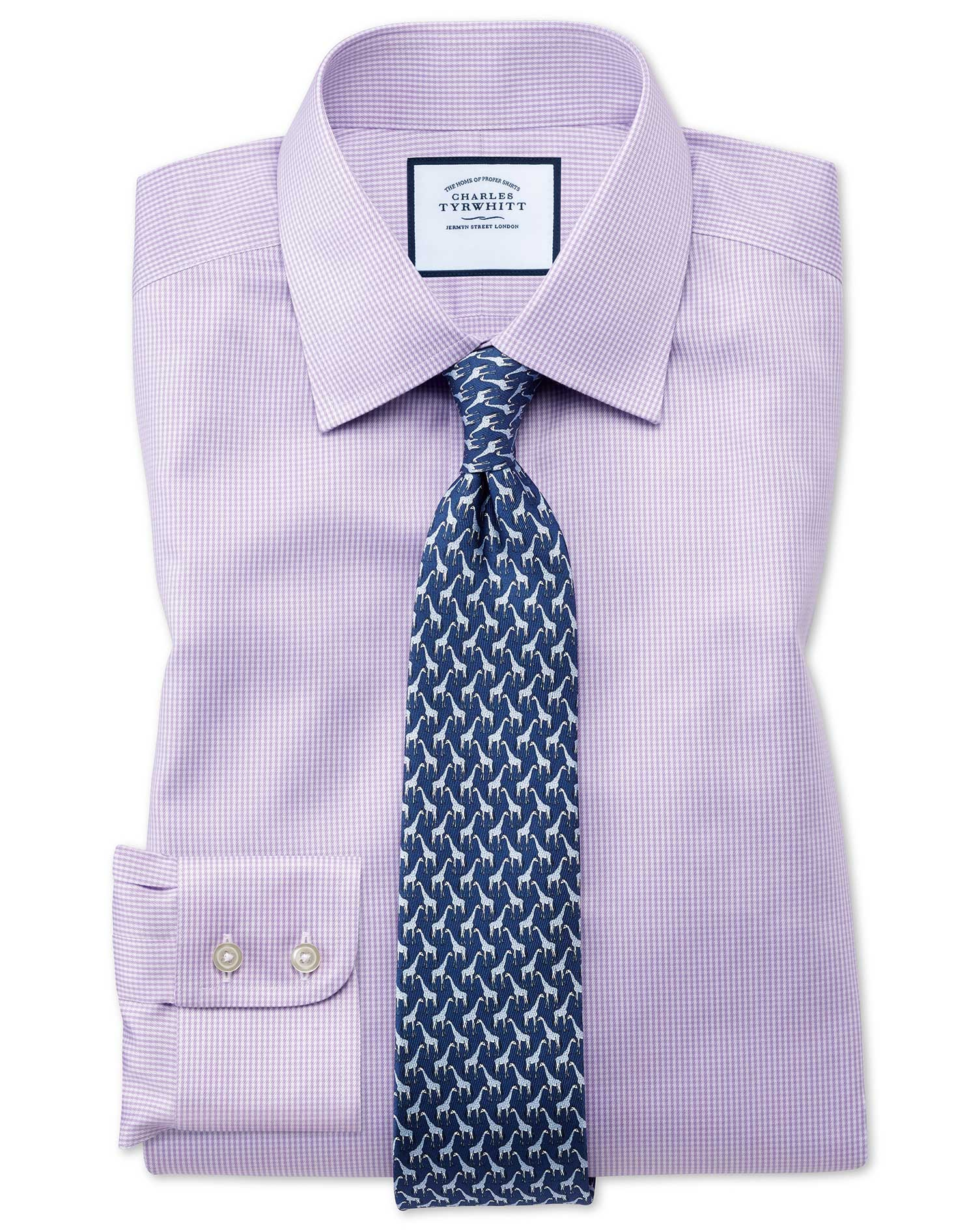 Classic fit non iron puppytooth lilac shirt charles tyrwhitt for What is a non iron shirt