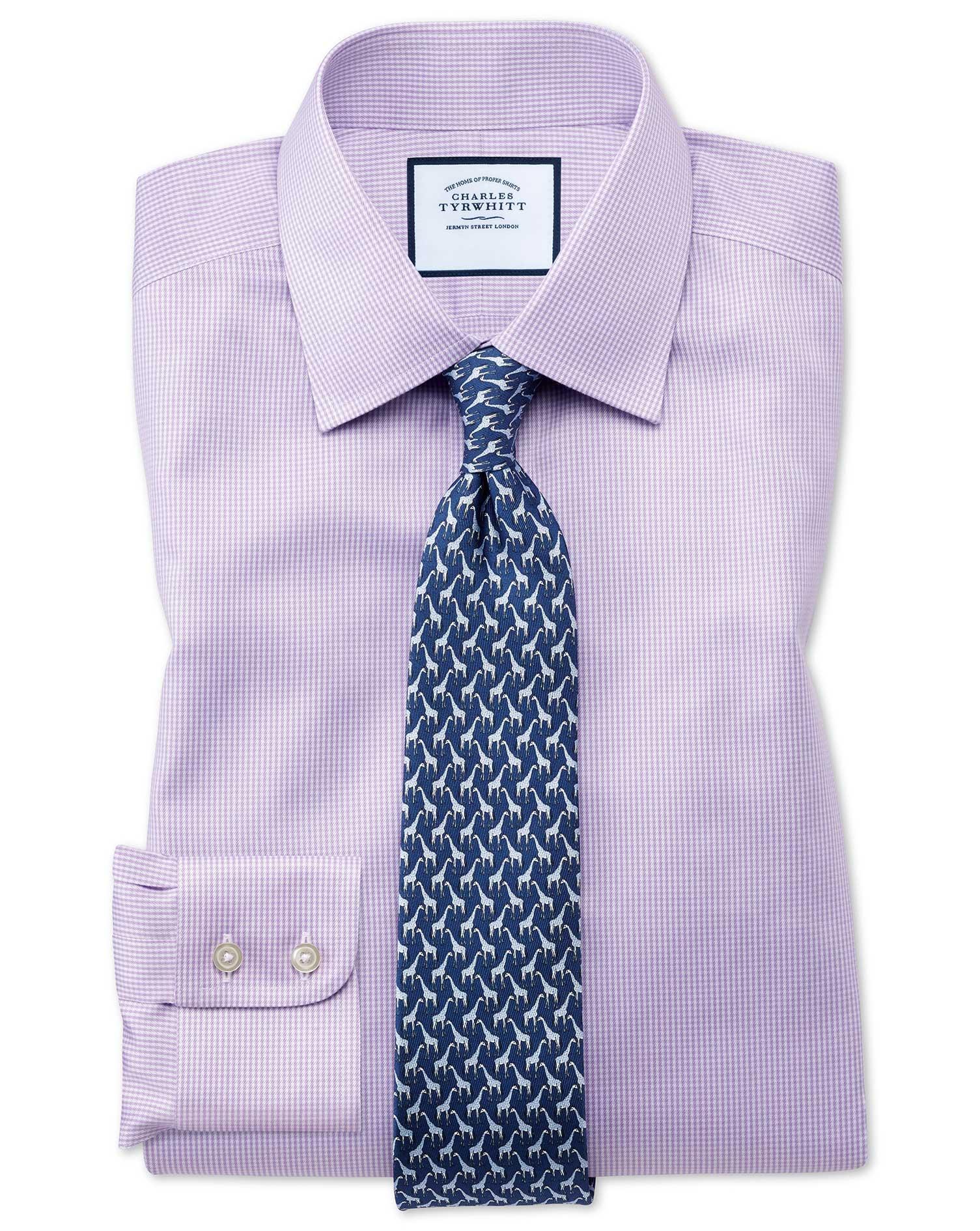 Classic Fit Non Iron Puppytooth Lilac Shirt Charles Tyrwhitt