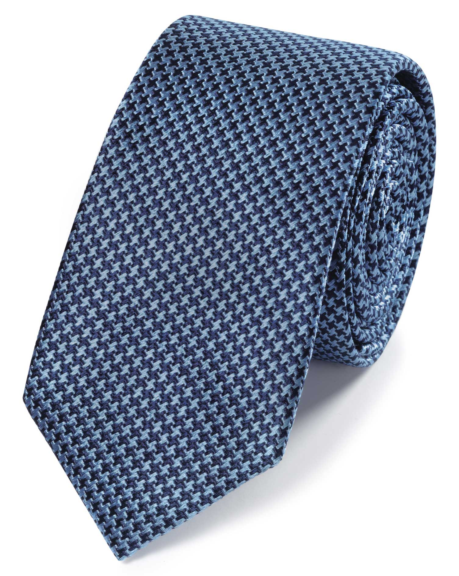 Sky Blue and Navy Mini Puppytooth Slim Silk Tie Size OSFA by Charles Tyrwhitt