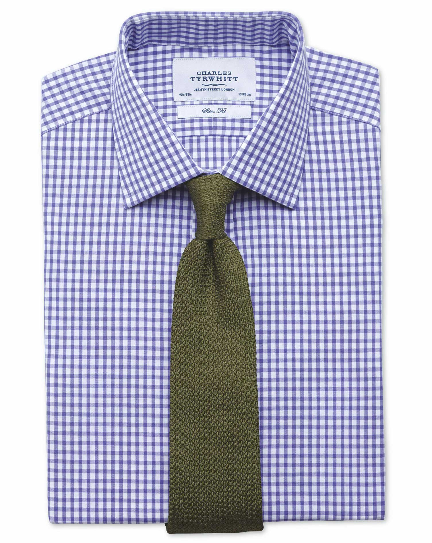 Slim Fit Gingham Purple Cotton Formal Shirt Double Cuff Size 15/35 by Charles Tyrwhitt
