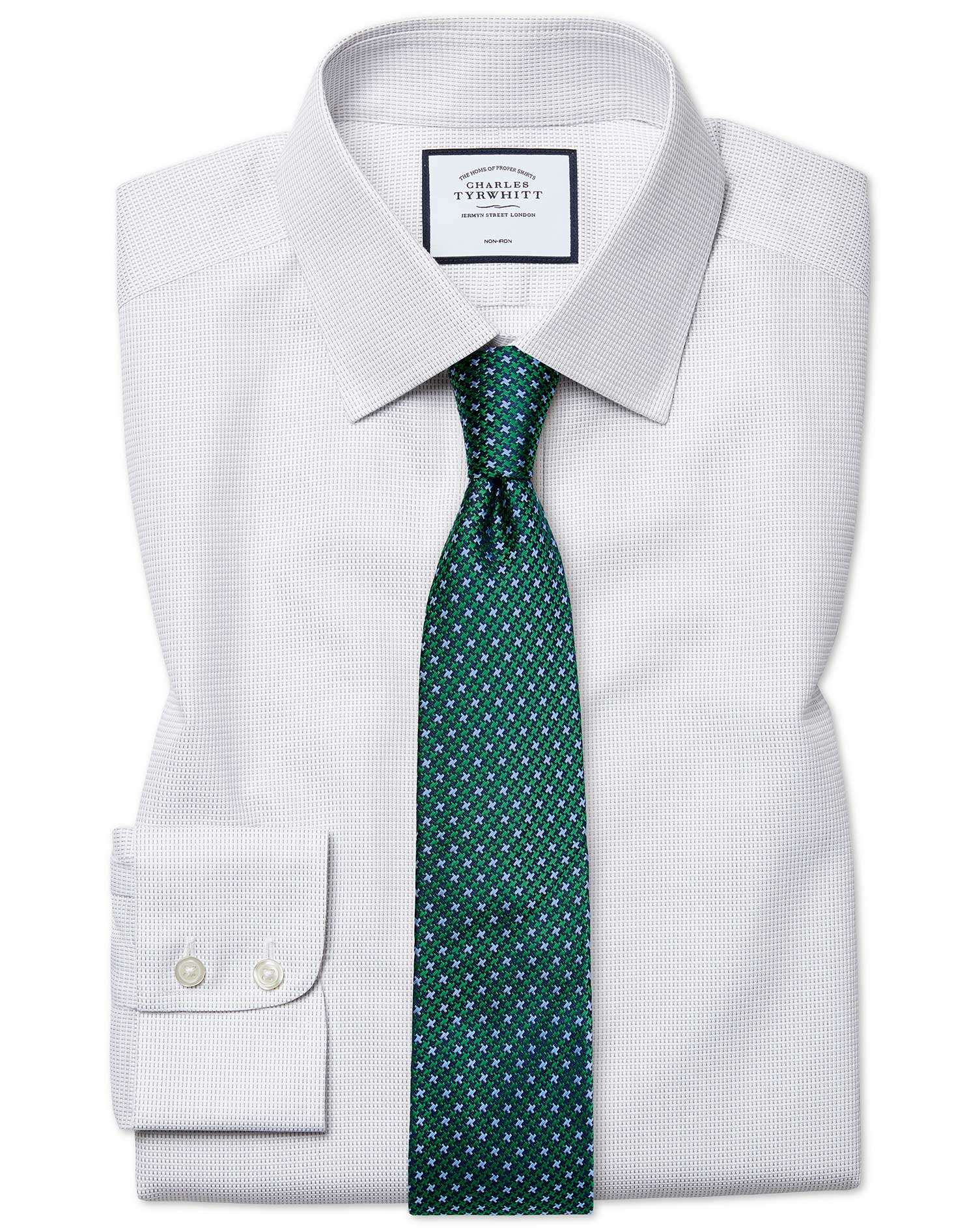 Cotton Slim Fit Non-Iron Dash Weave Grey Shirt