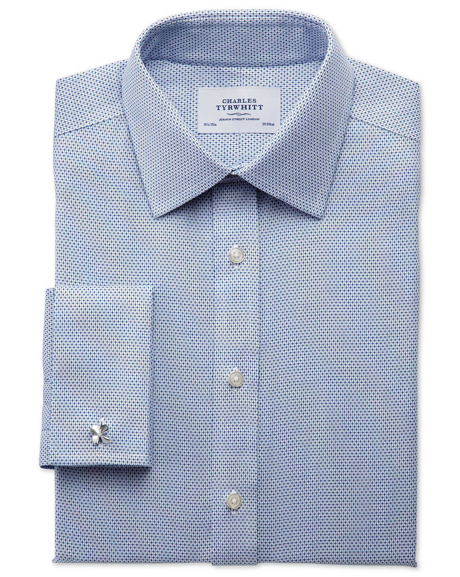 Classic Fit Non-Iron Imperial Weave Blue Cotton Formal Shirt Single Cuff Size 15.5/34 by Charles Tyr