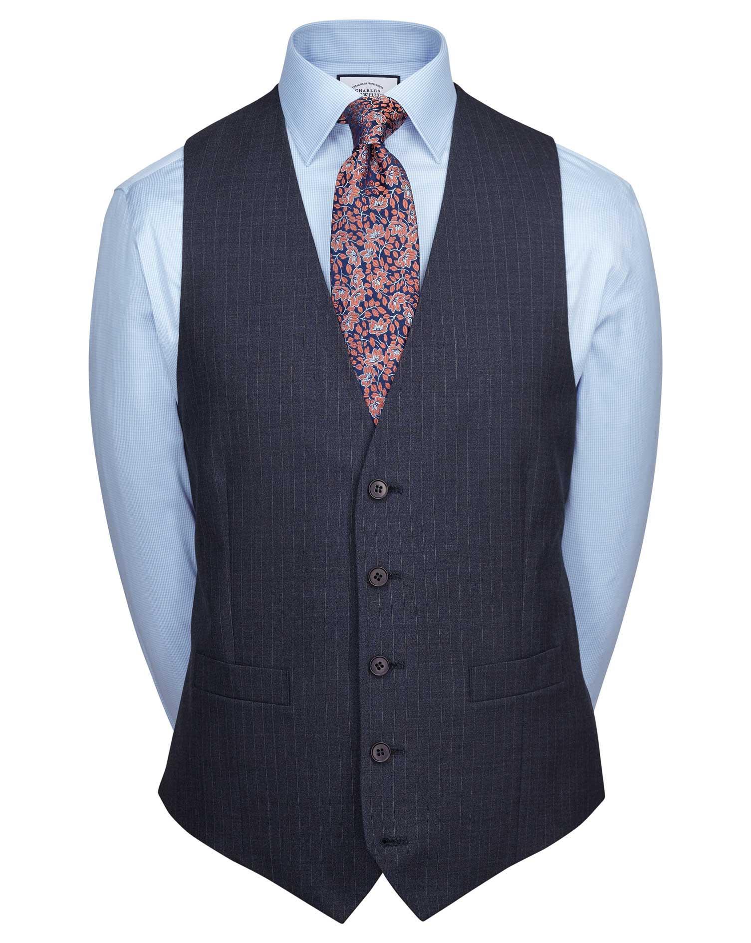 Blue Adjustable Fit Twist Business Suit Wool Waistcoat Size w44 by Charles Tyrwhitt