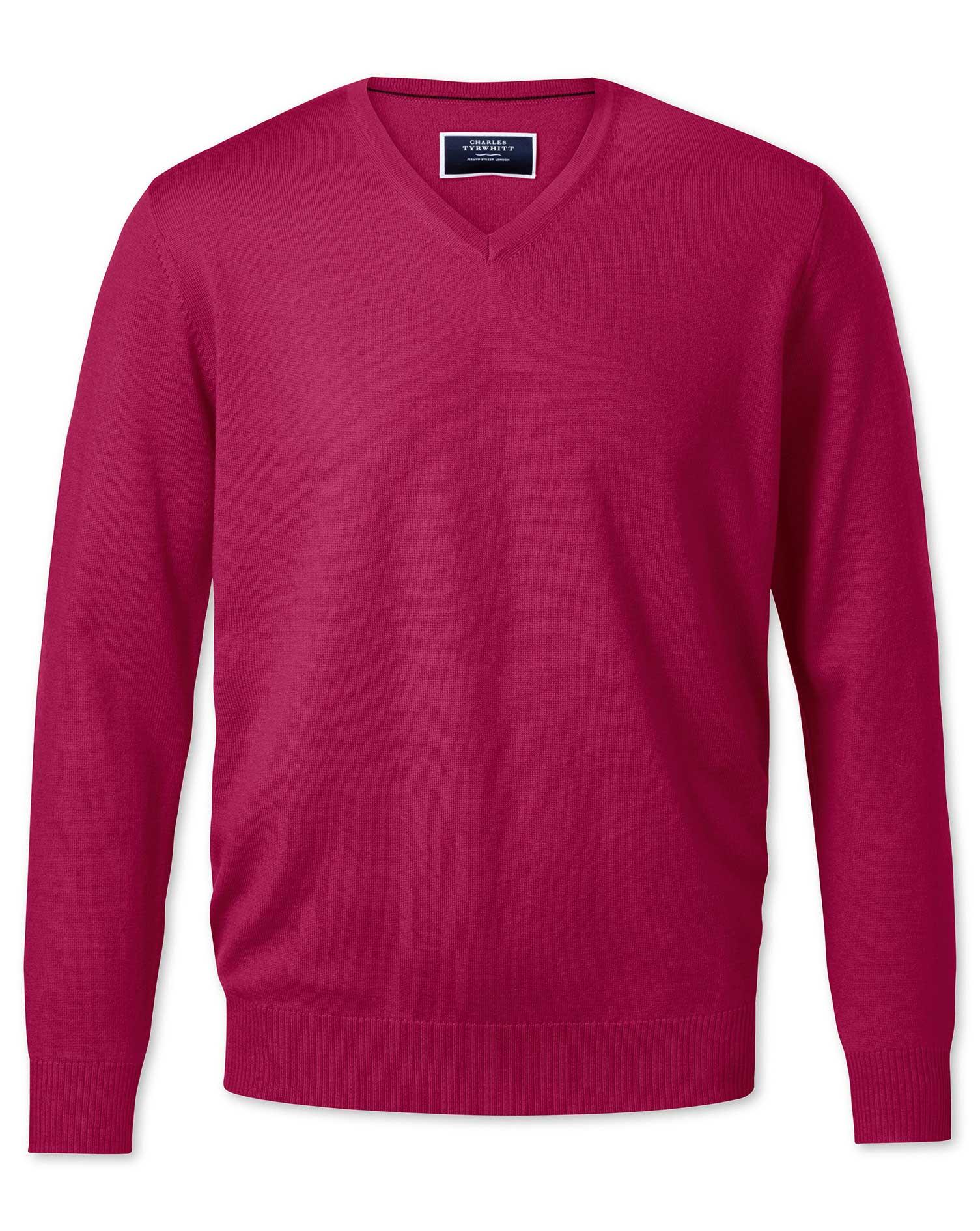 Dark Pink V-Neck Merino Wool Jumper Size Small by Charles Tyrwhitt