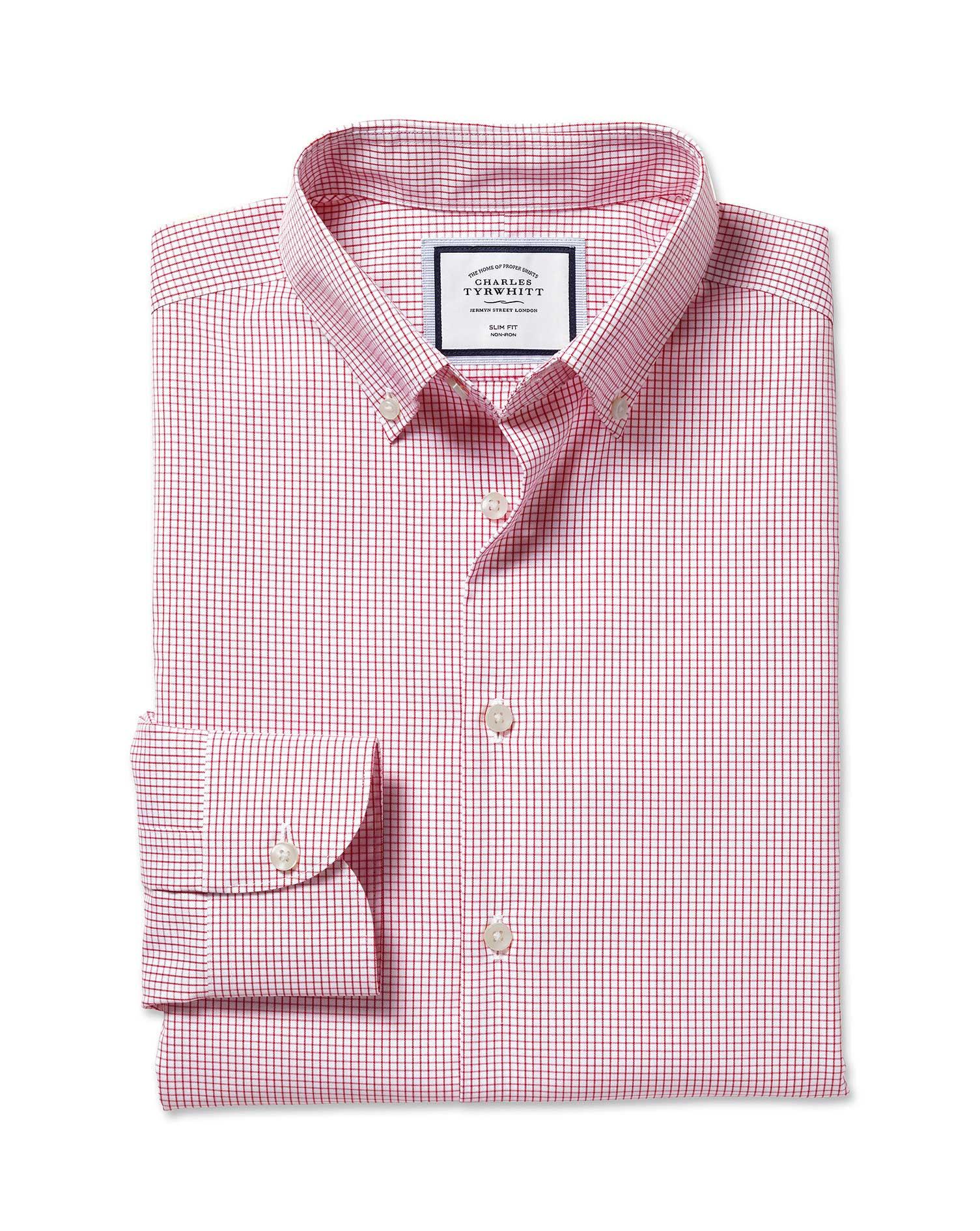 Cotton Button-Down Collar Non-Iron Check Shirt - Red