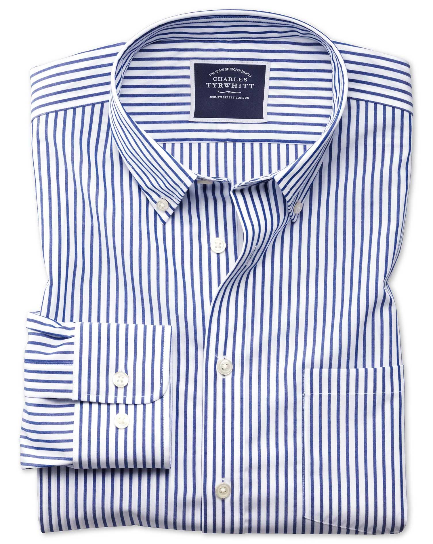 Classic Fit Button-Down Non-Iron Poplin Blue Stripe Cotton Shirt Single Cuff Size Medium by Charles