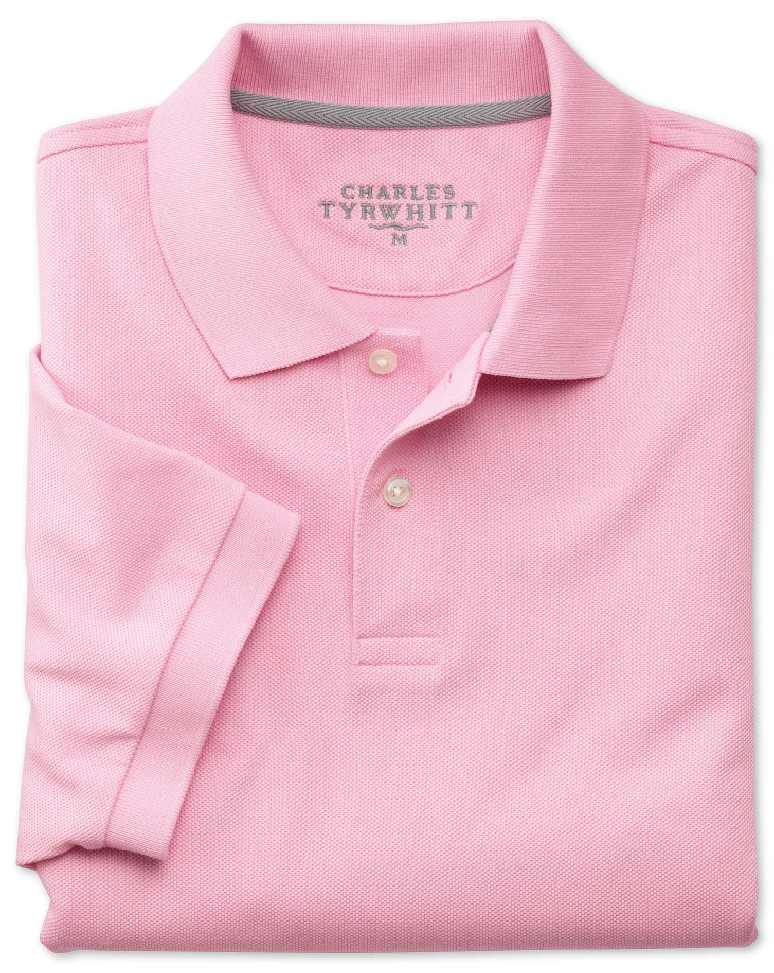 Pink Pique Cotton Polo Size Large by Charles Tyrwhitt