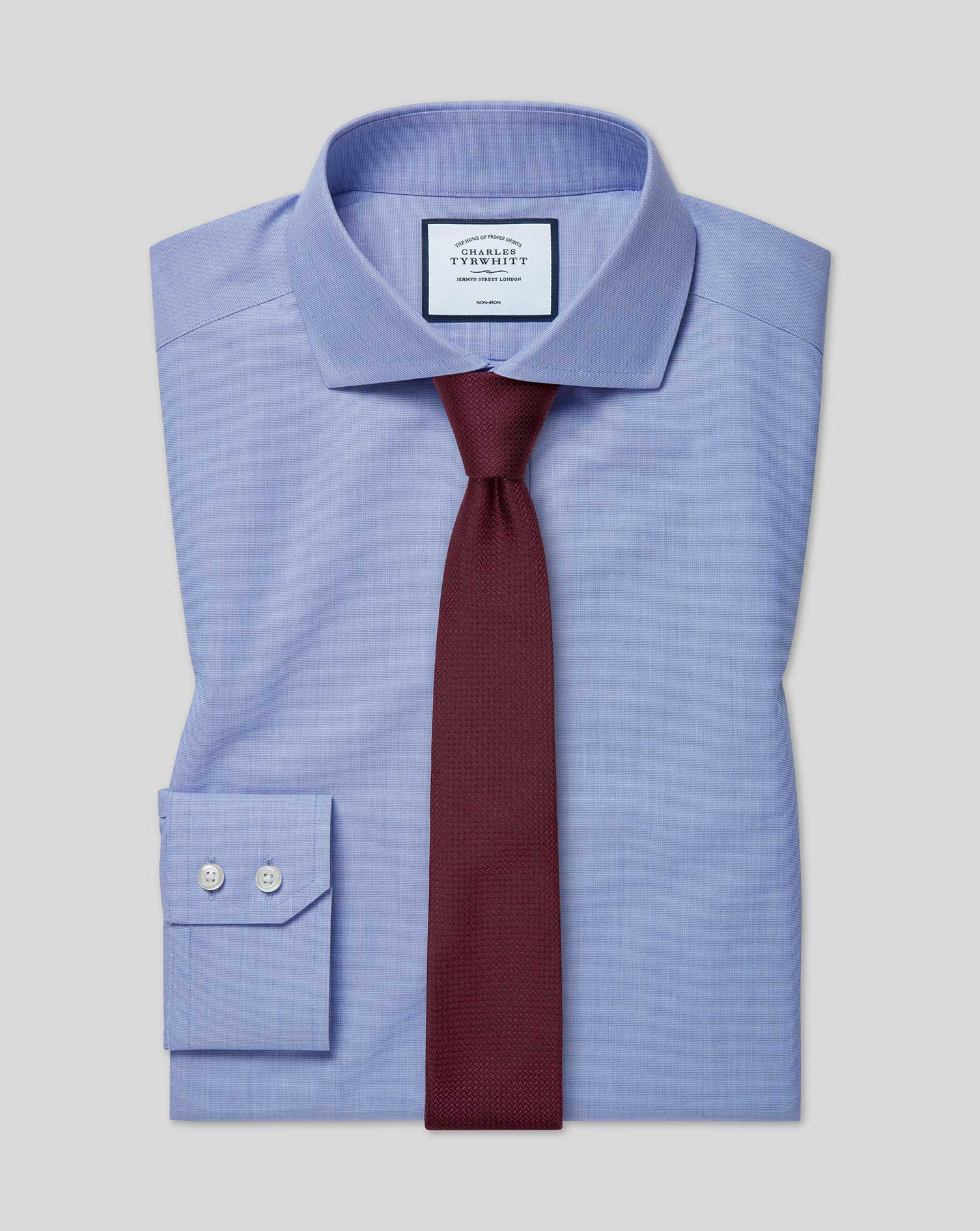 Extra Slim Fit Non-Iron 4-Way Stretch Blue Cotton Formal Shirt Single Cuff Size 16.5/35 by Charles T