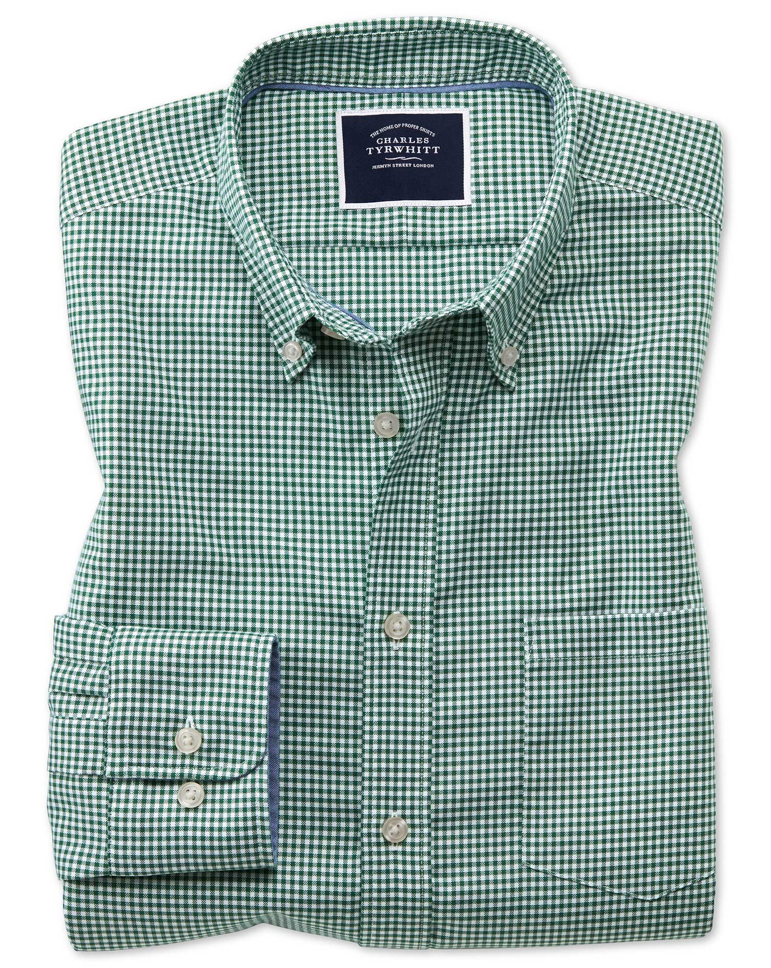 Slim Fit Dark Green Gingham Soft Washed Non-Iron Stretch Cotton Shirt Single Cuff Size XXL by Charle