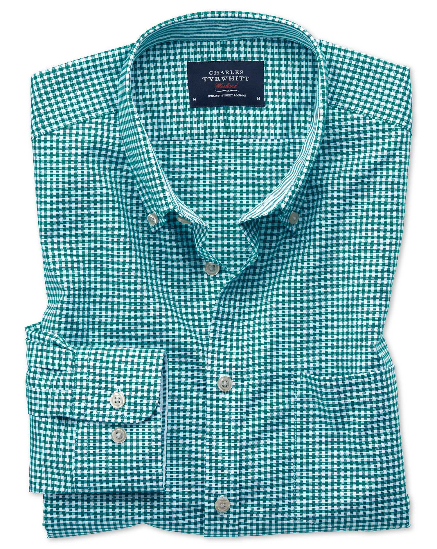 Slim Fit Button-Down Non-Iron Oxford Gingham Green Cotton Shirt Single Cuff Size XL by Charles Tyrwh