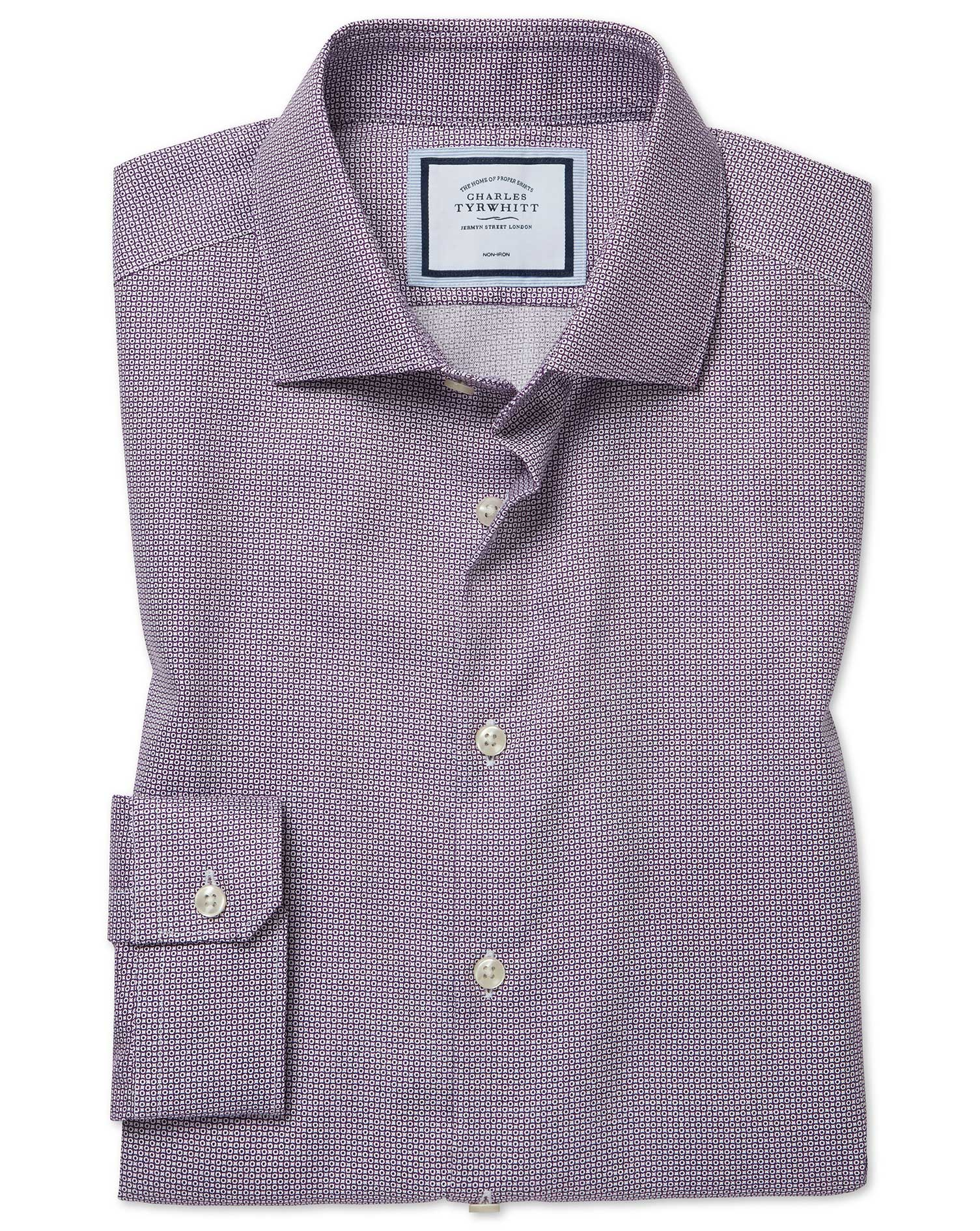 Super Slim Fit Non-Iron Spot Print Purple Cotton Formal Shirt Single Cuff Size 16.5/34 by Charles Ty