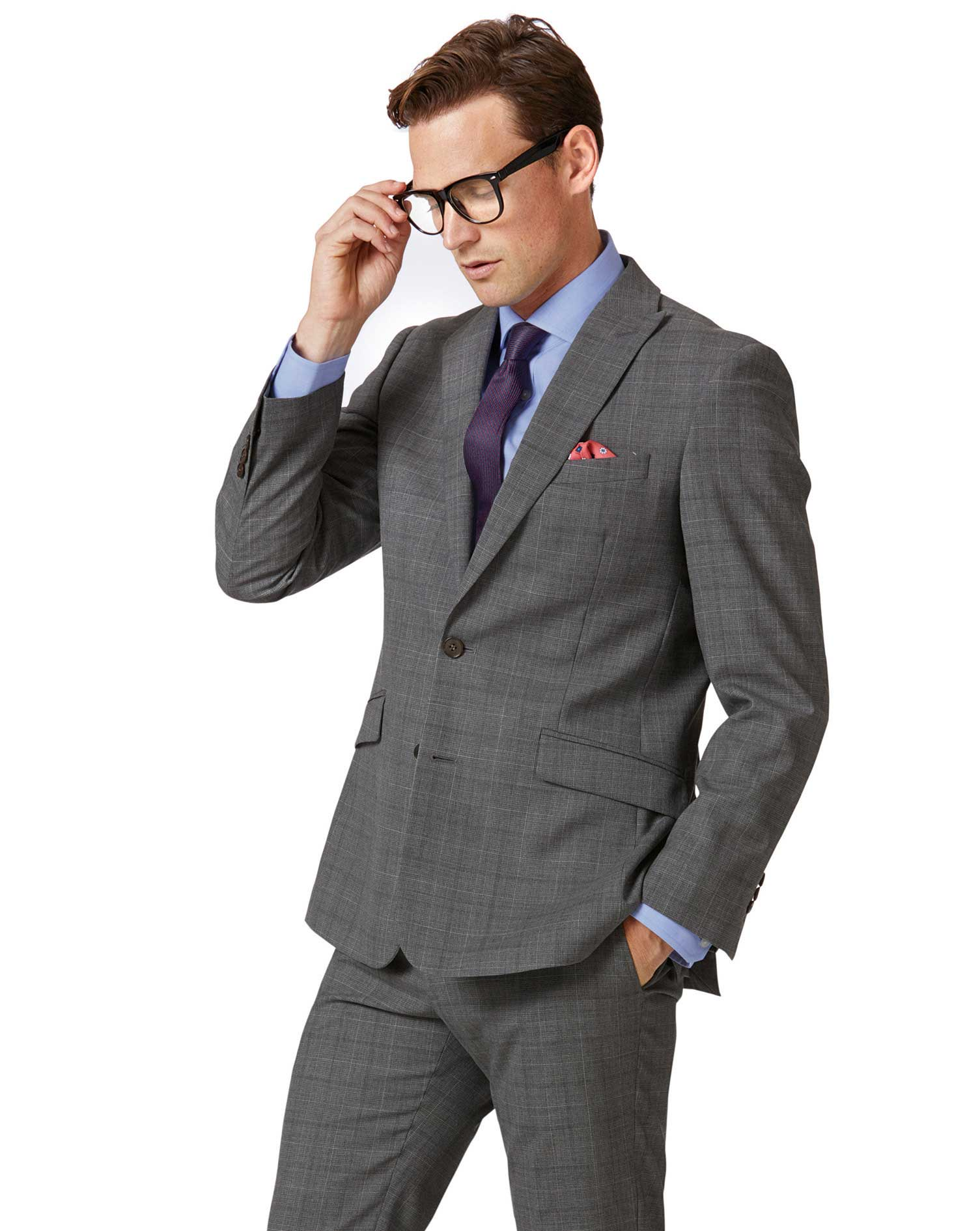 Light Grey Check Slim Fit Twist Business Suit Wool Jacket Size 40 Long by Charles Tyrwhitt