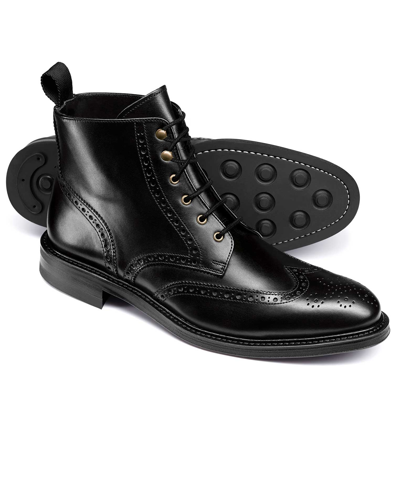1920s Style Mens Shoes | Peaky Blinders Boots Black Brogue Wing Tip Boots Size 9 R by Charles Tyrwhitt £129.00 AT vintagedancer.com