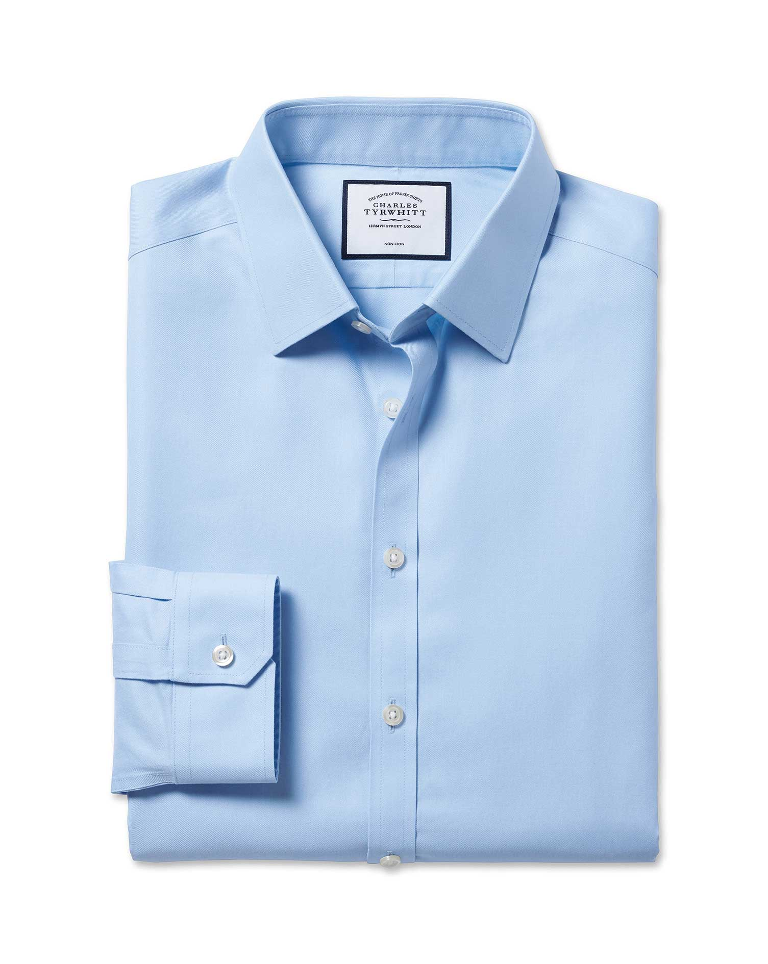Cotton Super Slim Fit Non-Iron Twill Sky Blue Shirt