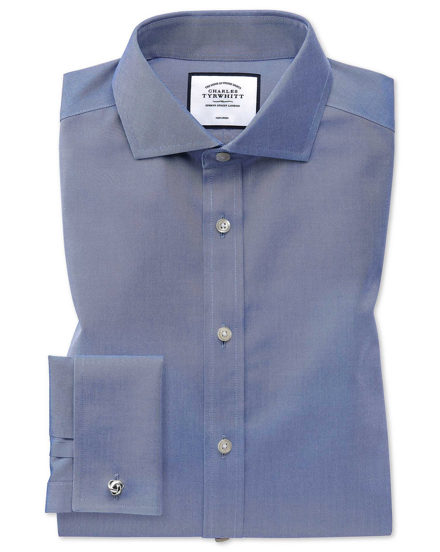 Slim Fit Cutaway Non-Iron Twill Mid Blue Cotton Formal Shirt Double Cuff Size 17/34 by Charles Tyrwh