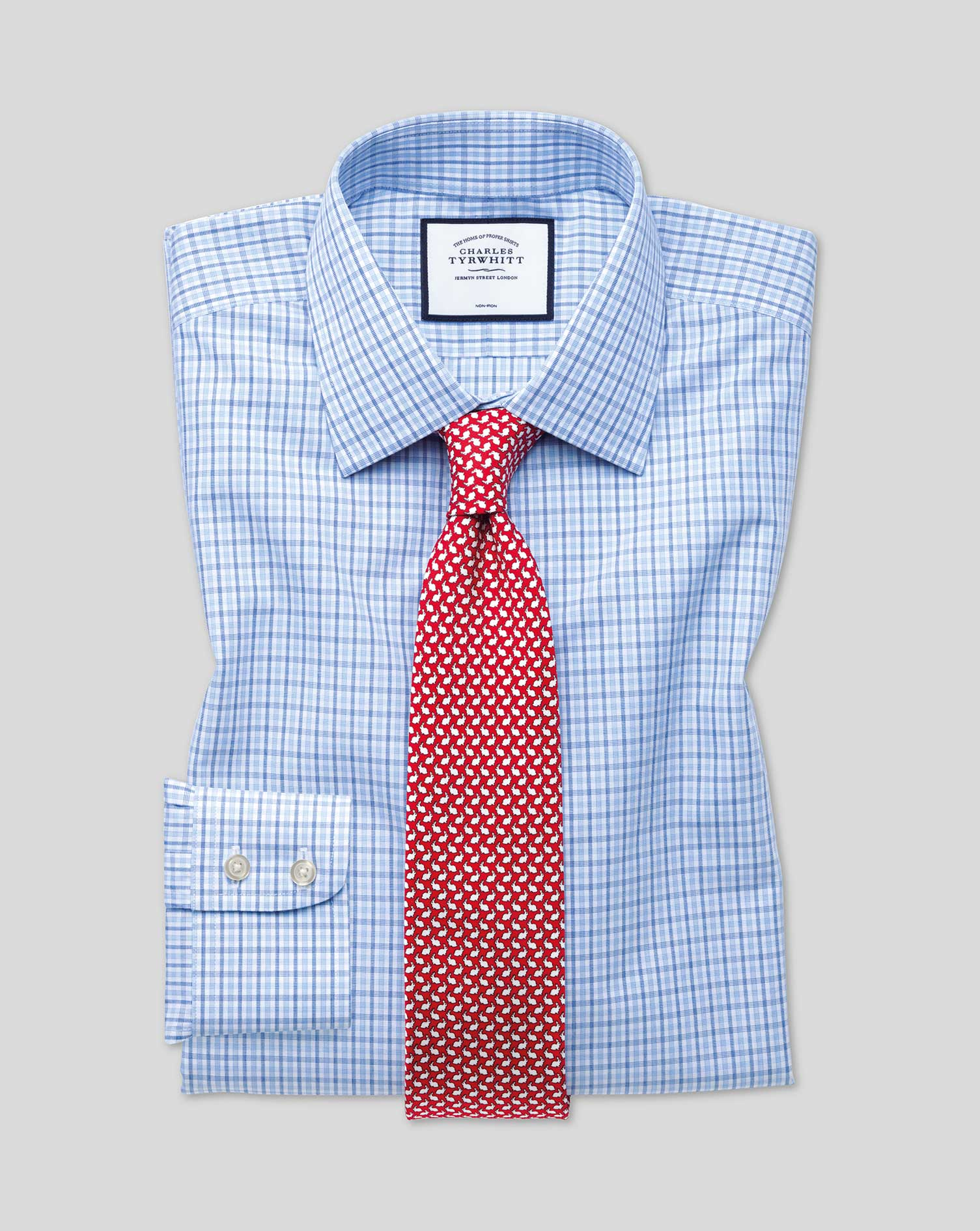 Classic Fit Non-Iron Blue and Sky Blue Check Cotton Formal Shirt Single Cuff Size 16/34 by Charles T