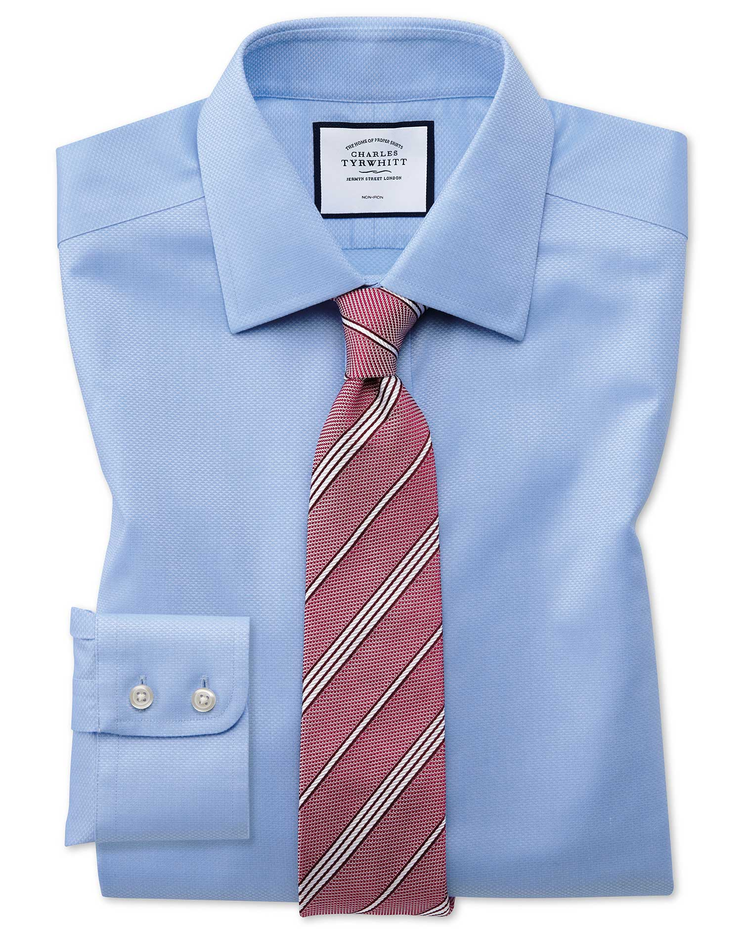 Classic Fit Non-Iron Sky Blue Triangle Weave Cotton Formal Shirt Double Cuff Size 16/34 by Charles T