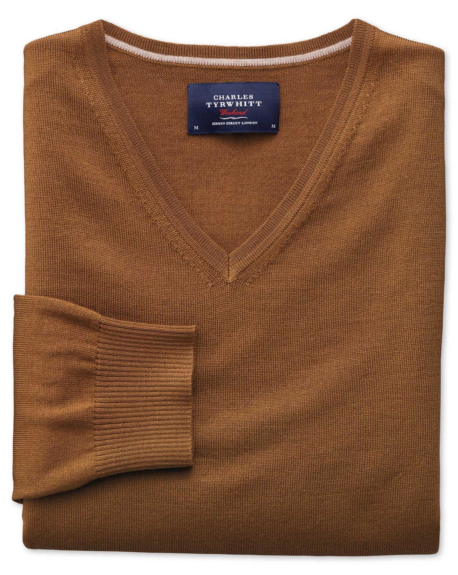 Tan Merino Wool V-Neck Jumper Size Medium by Charles Tyrwhitt