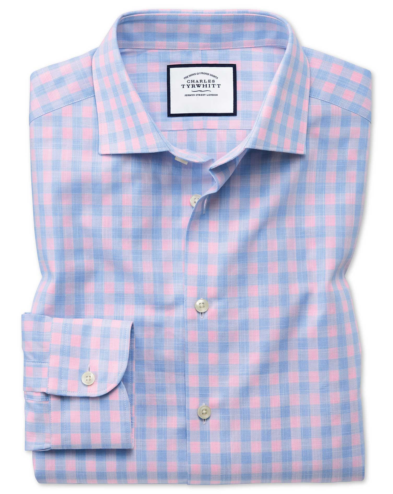 Classic Fit Business Casual Egyptian Cotton Slub Sky Blue Check and Pink Formal Shirt Single Cuff Si