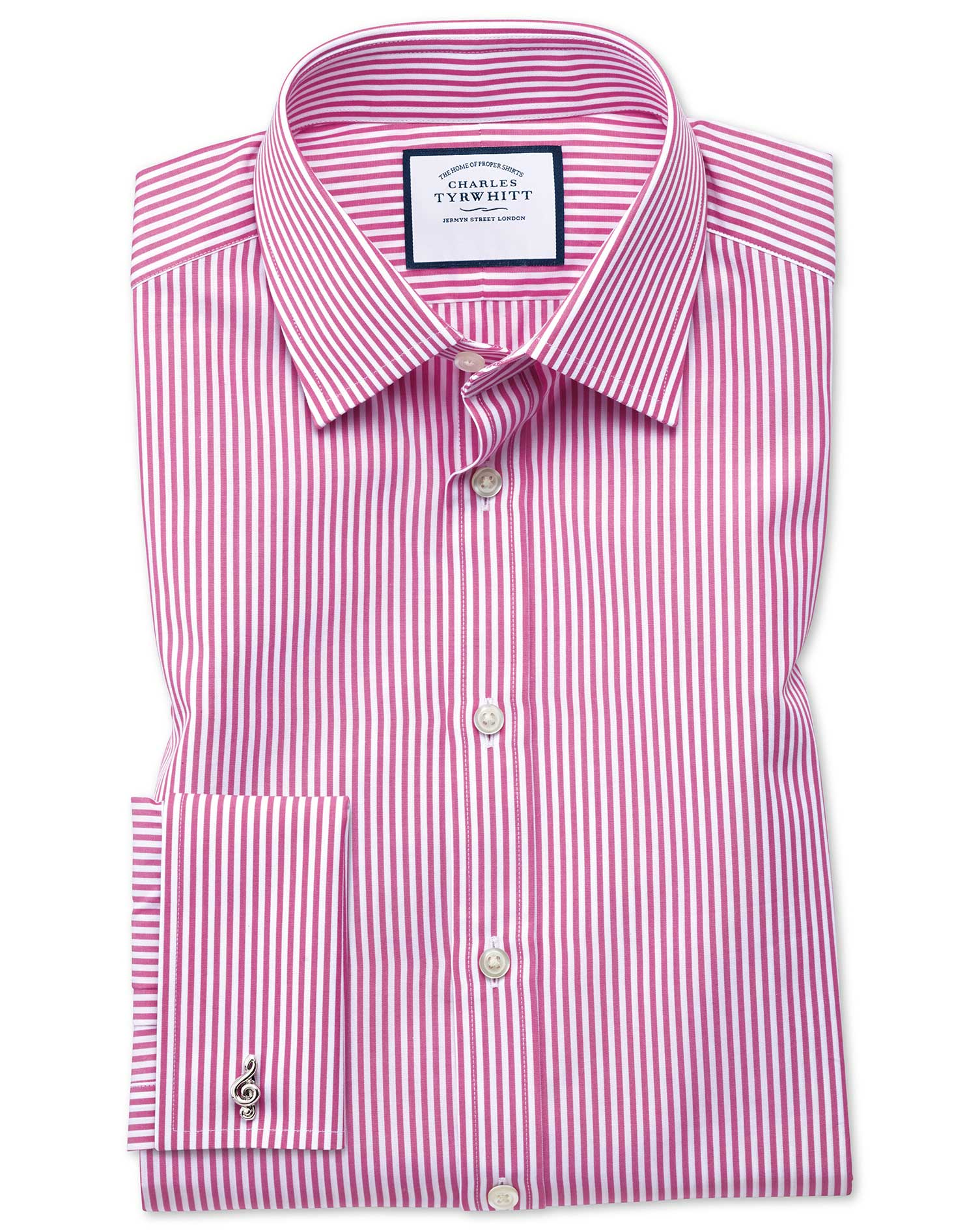Classic Fit Bengal Stripe Pink Cotton Formal Shirt Single Cuff Size 17.5/35 by Charles Tyrwhitt