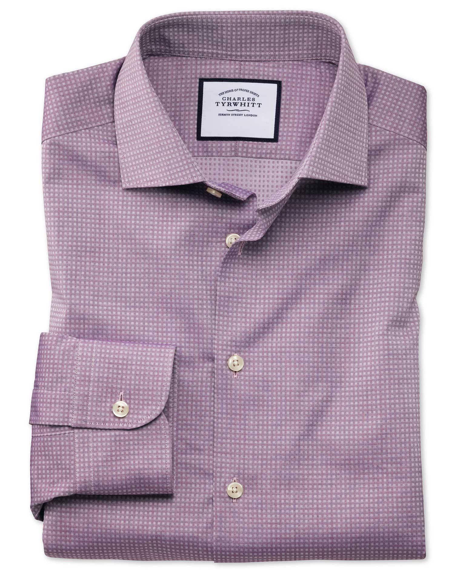 Slim Fit Business Casual Purple Square Texture Egyptian Cotton Formal Shirt Single Cuff Size 14.5/33