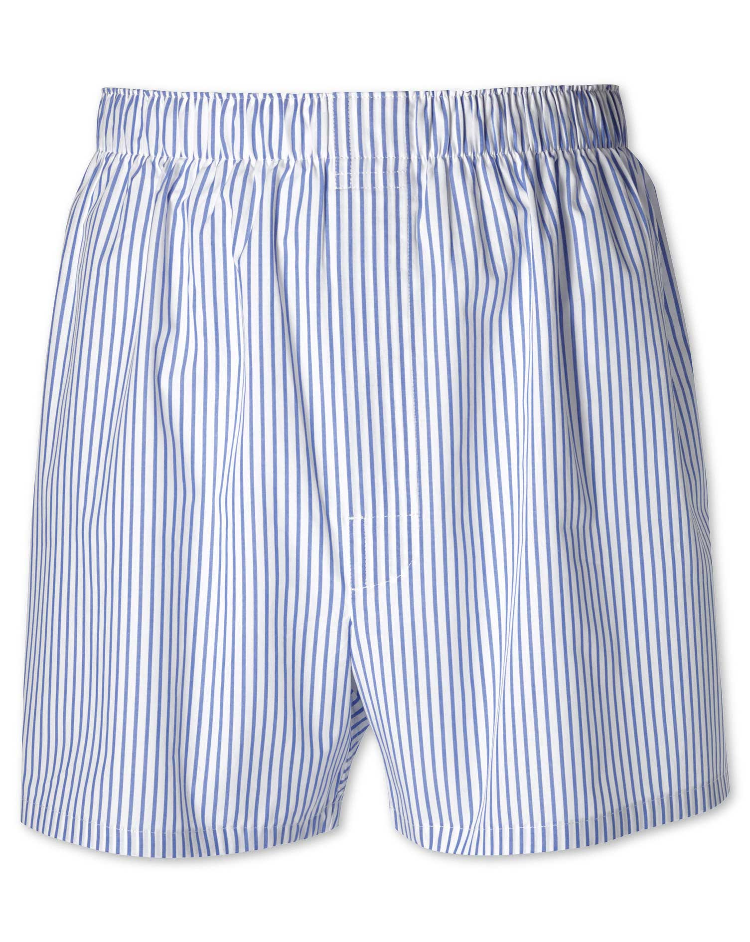 Sky Blue Stripe Woven Boxers Size Small by Charles Tyrwhitt