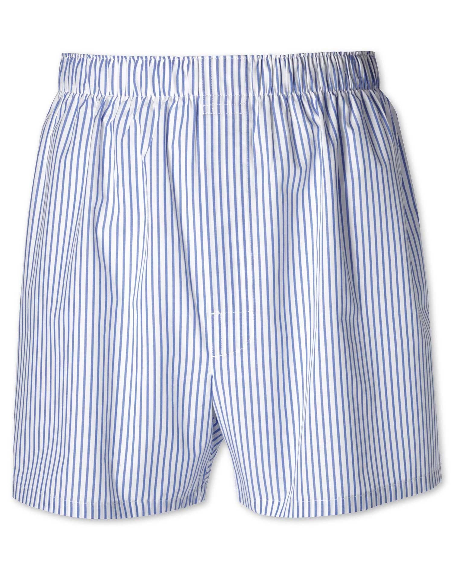 Sky Blue Stripe Woven Boxers Size Medium by Charles Tyrwhitt
