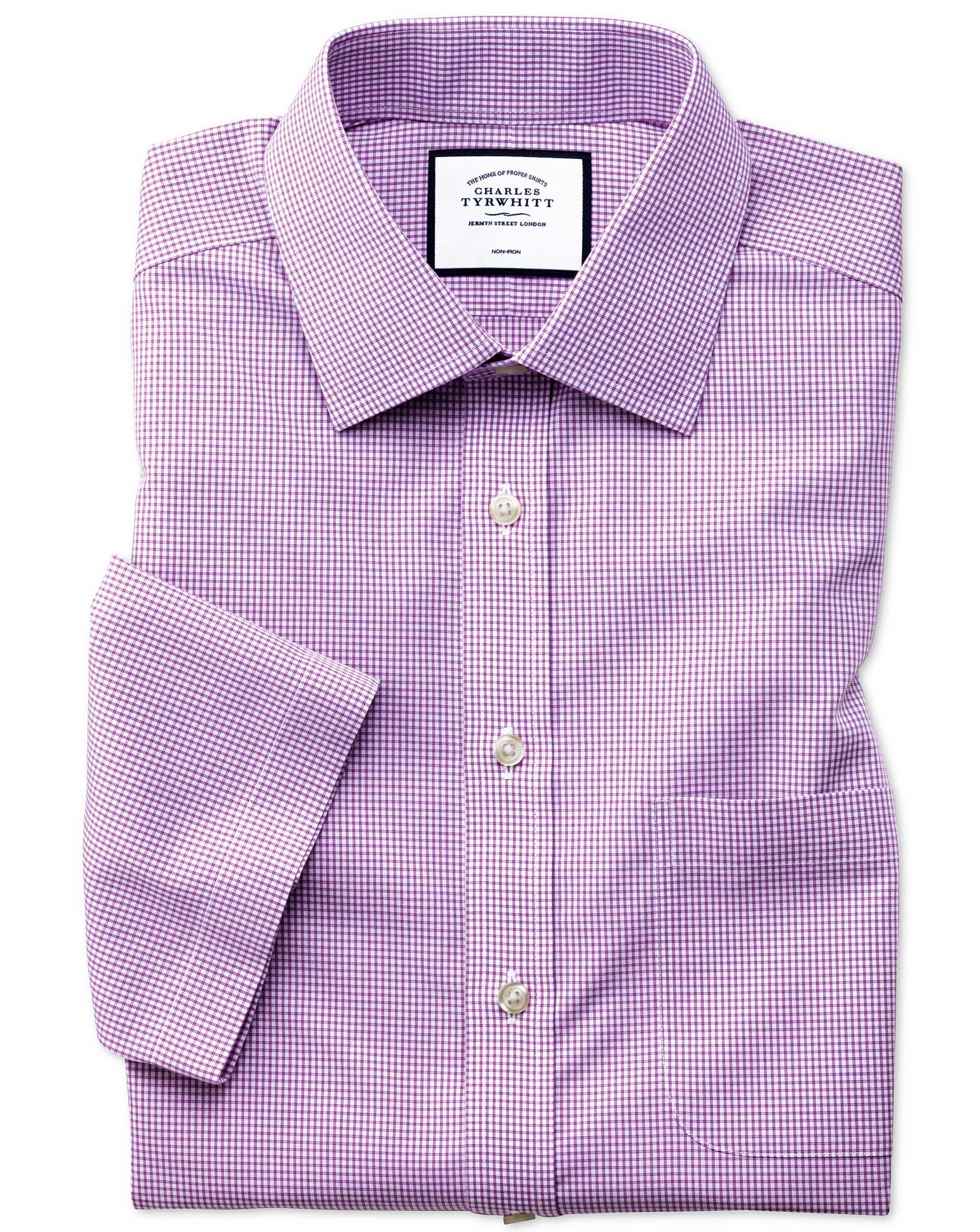Slim Fit Non-Iron Natural Cool Short Sleeve Pink Check Cotton Formal Shirt Size 15/Short by Charles